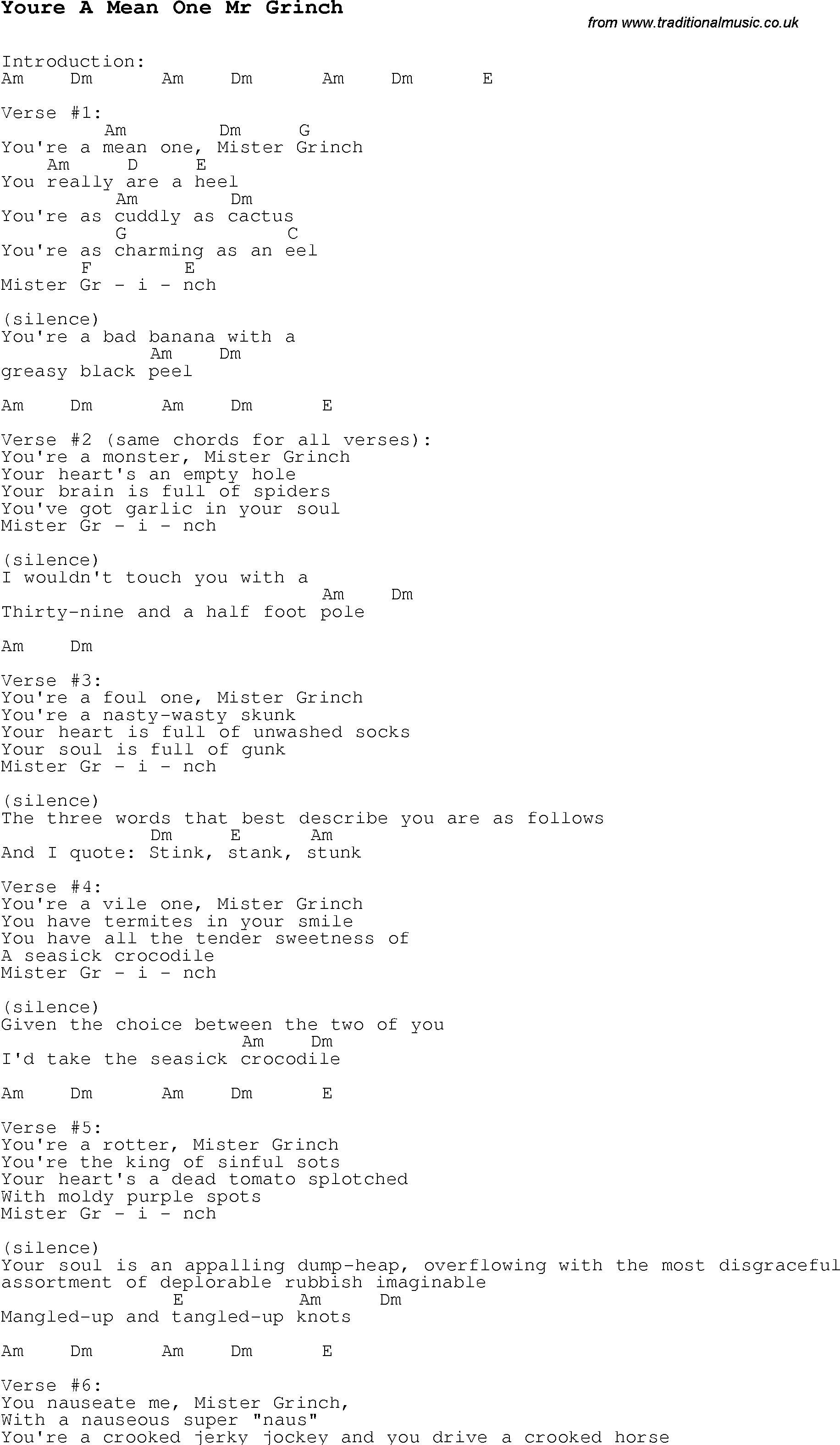 Christmas Carol/Song lyrics with chords for Youre A Mean One Mr Grinch