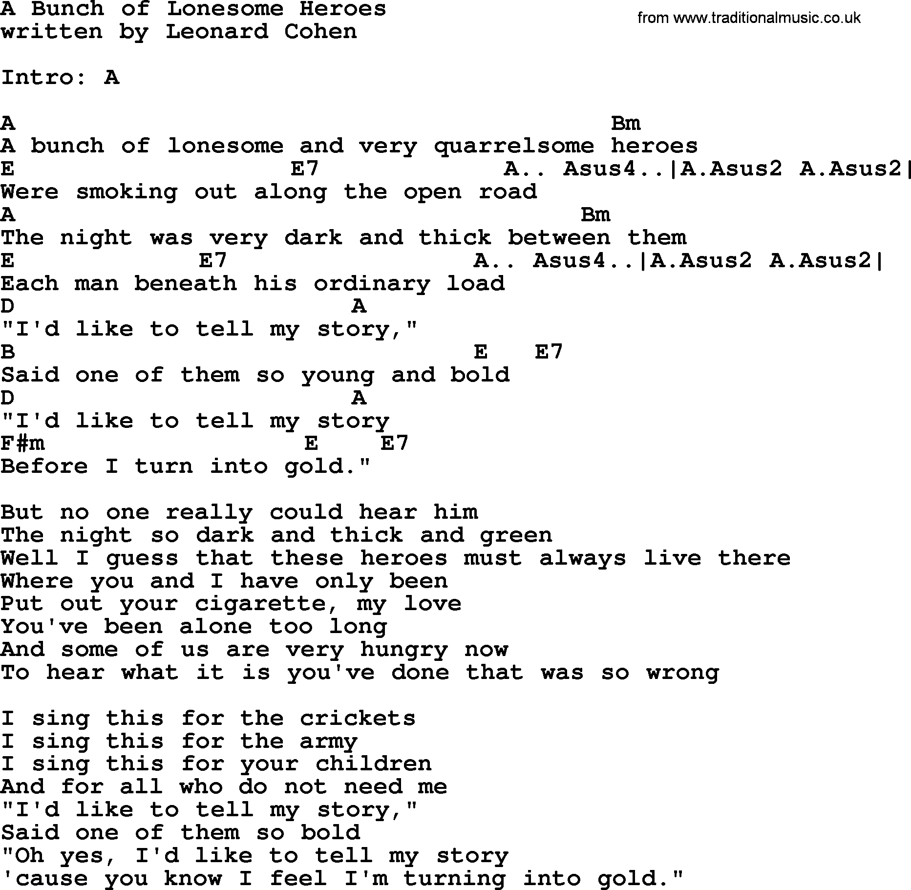 Leonard cohen song a bunch of lonesome heroes lyrics and chords leonard cohen song a bunch of lonesome heroes lyrics and chords hexwebz Choice Image
