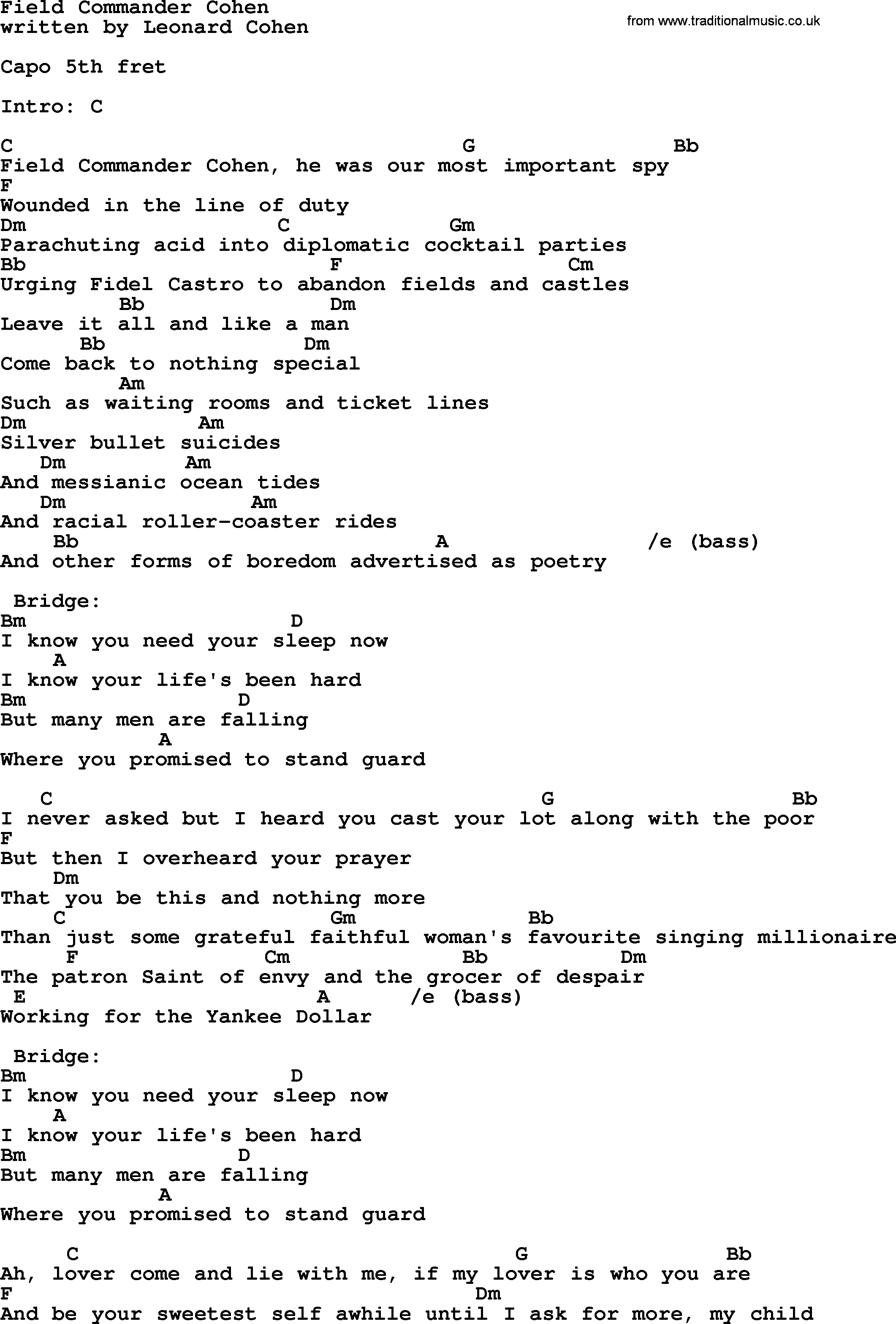 Leonard cohen song field commander cohen lyrics and chords leonard cohen song field commander cohen lyrics and chords hexwebz Image collections