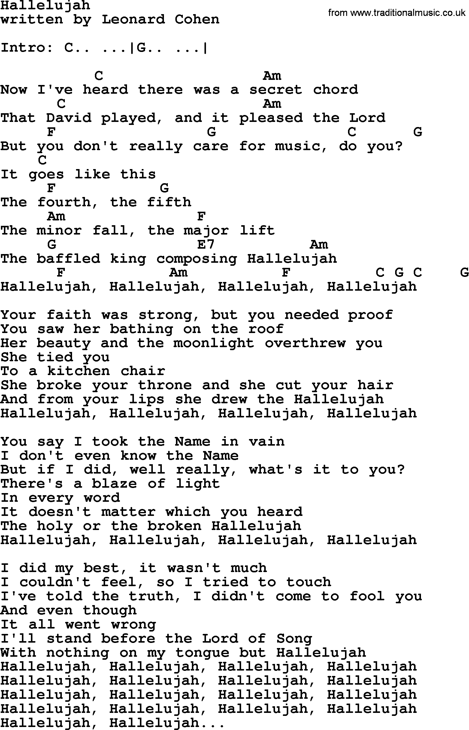 Leonard Cohen song: Hallelujah, lyrics and chords
