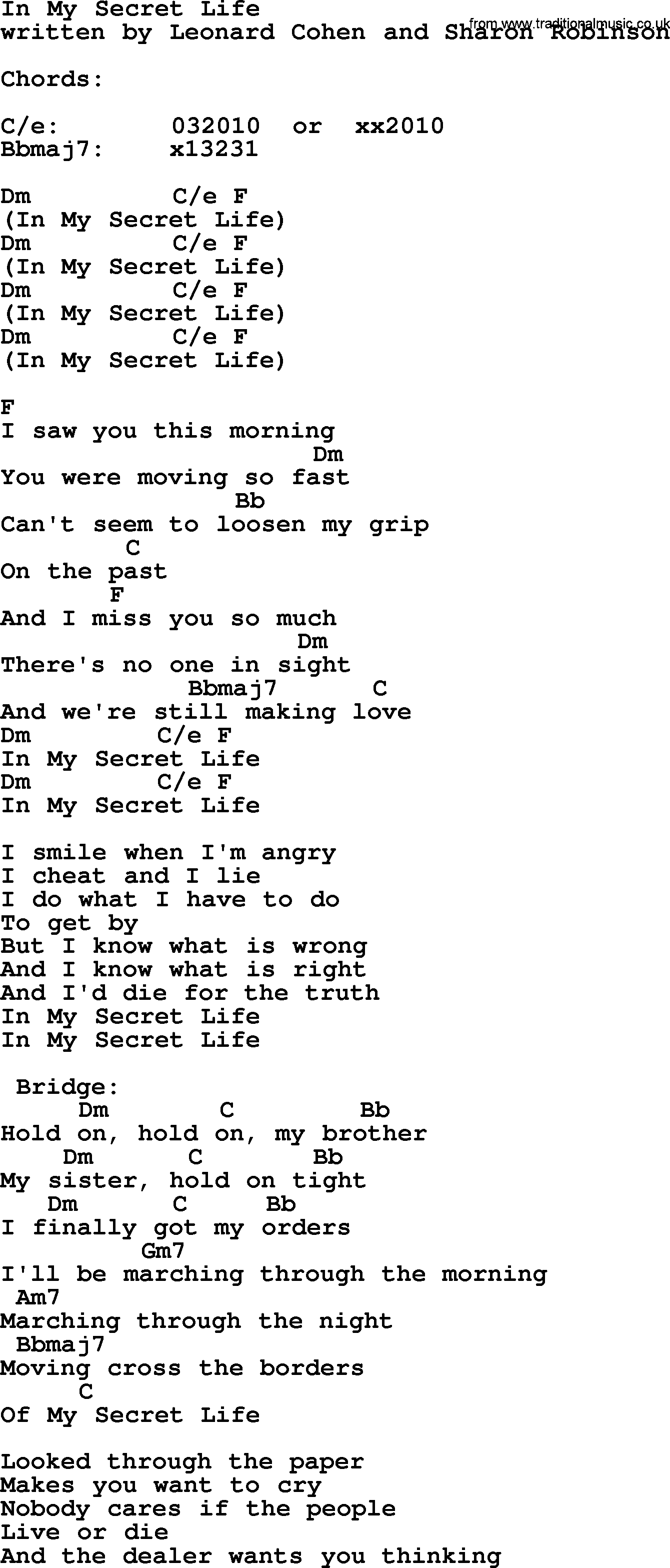 Leonard cohen song in my secret life lyrics and chords leonard cohen song in my secret life lyrics and chords hexwebz Images