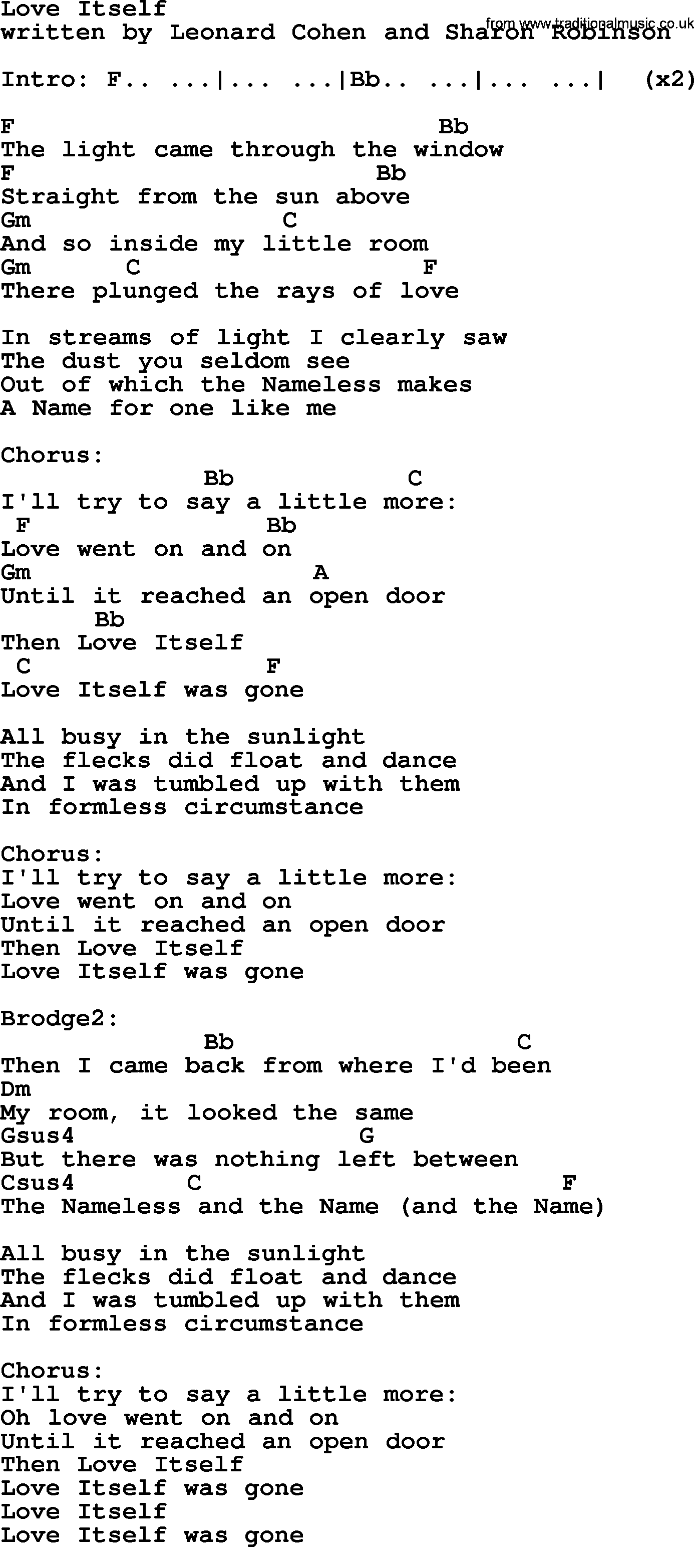 Leonard Cohen Song Love Itself Lyrics And Chords  sc 1 th 208 : lyrics door - pezcame.com