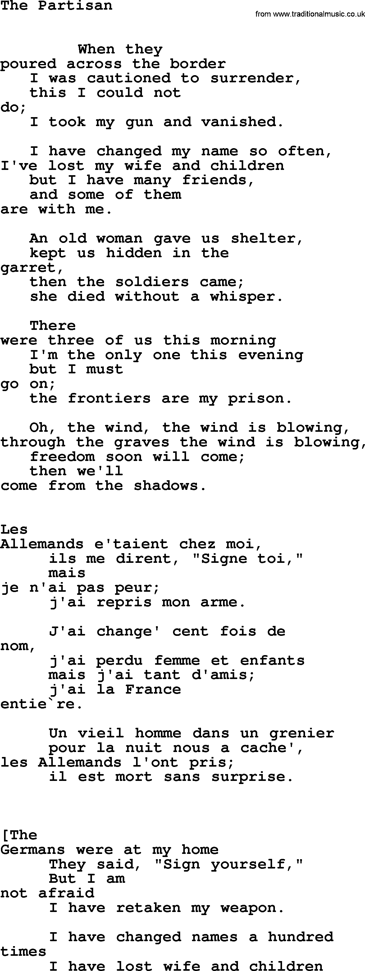 Leonard Cohen song: Partisan lyrics