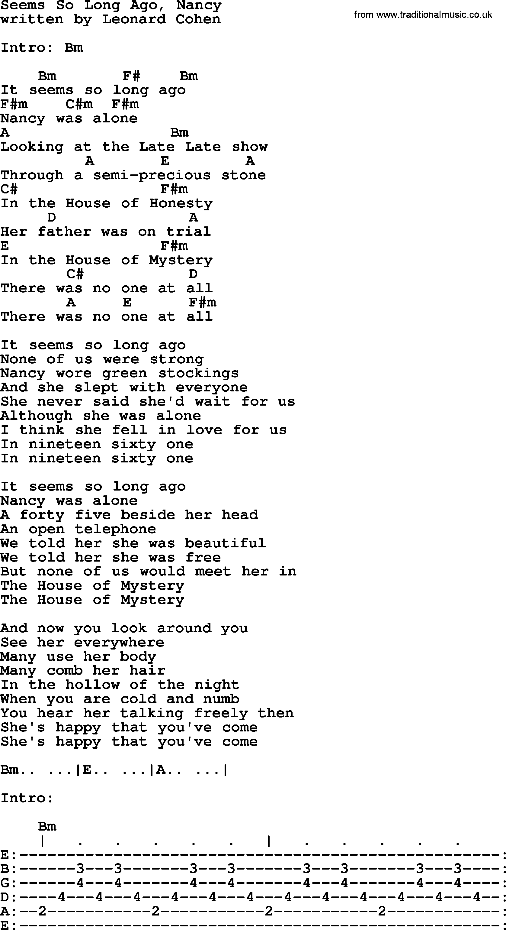 Leonard cohen song seems so long ago nancy lyrics and chords leonard cohen song seems so long ago nancy lyrics and chords hexwebz Image collections