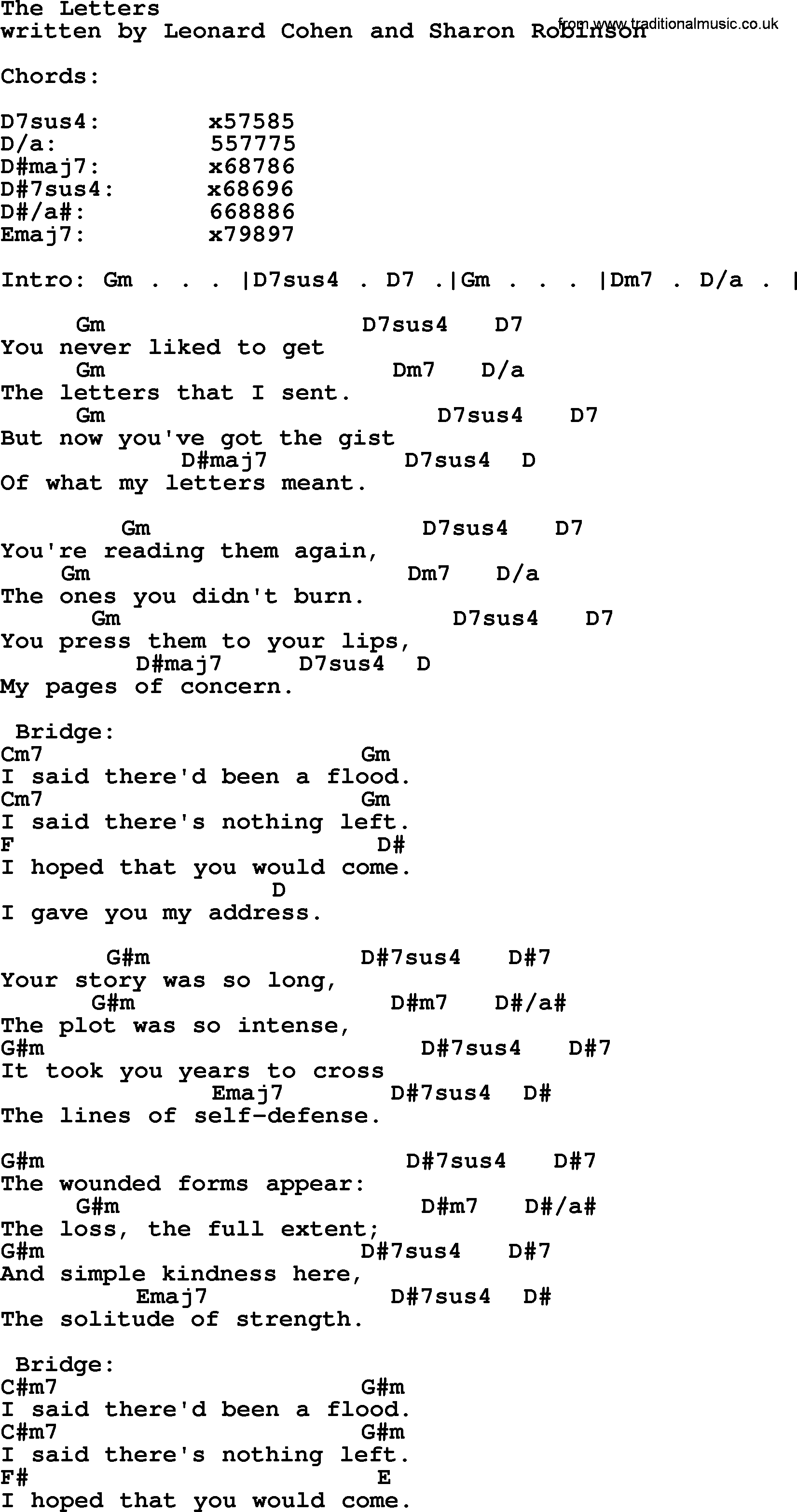 Leonard Cohen song: The Letters, lyrics and chords