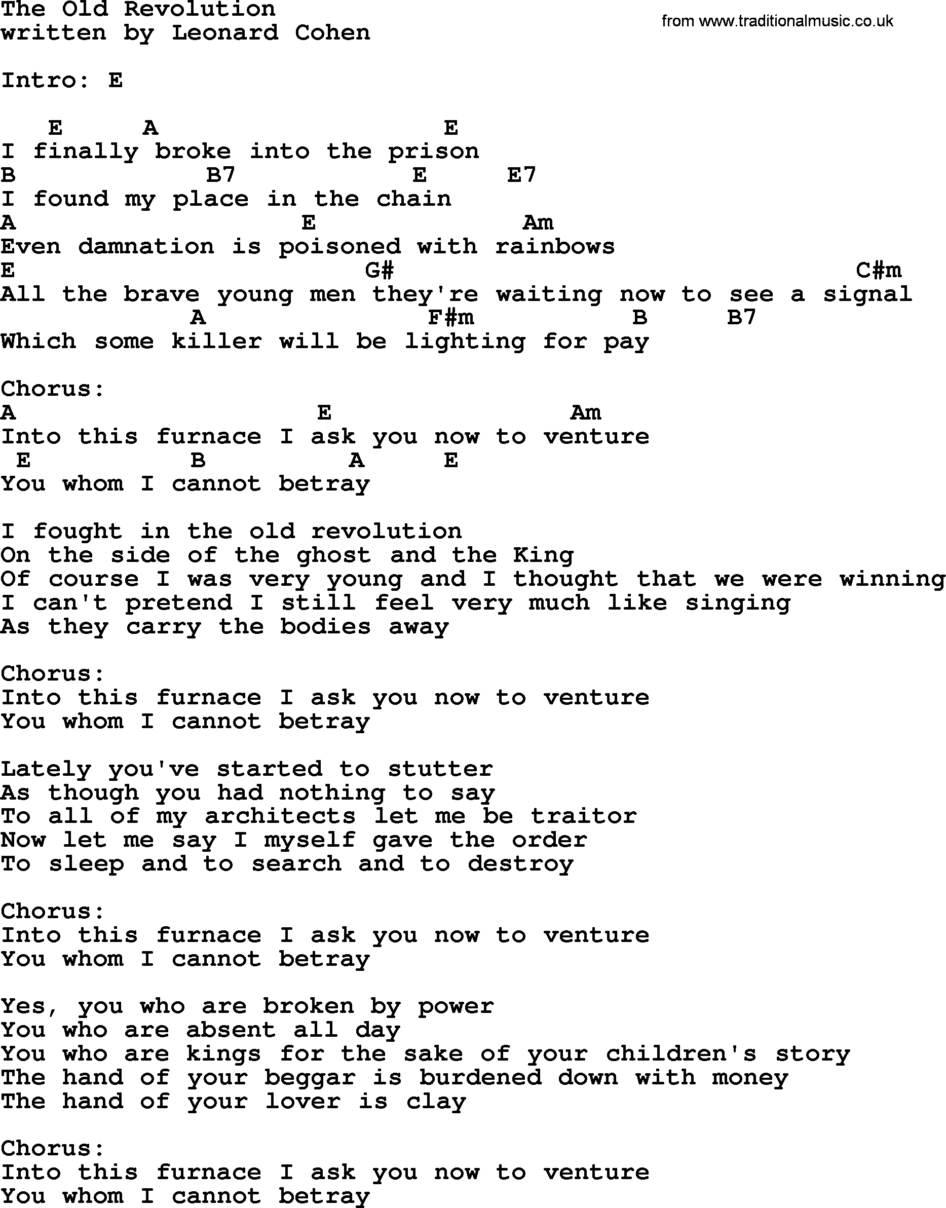 Leonard Cohen Song The Old Revolution Lyrics And Chords
