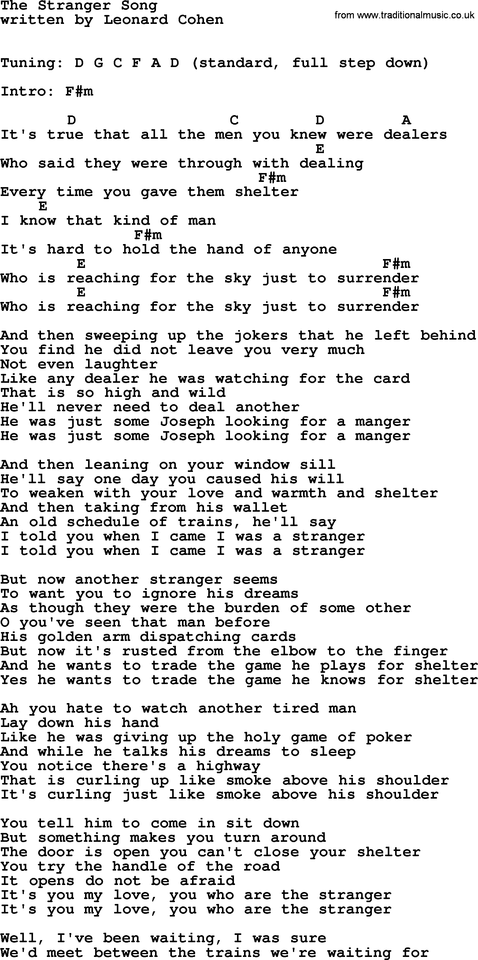 Leonard cohen song the stranger song lyrics and chords leonard cohen song the stranger song lyrics and chords hexwebz Image collections