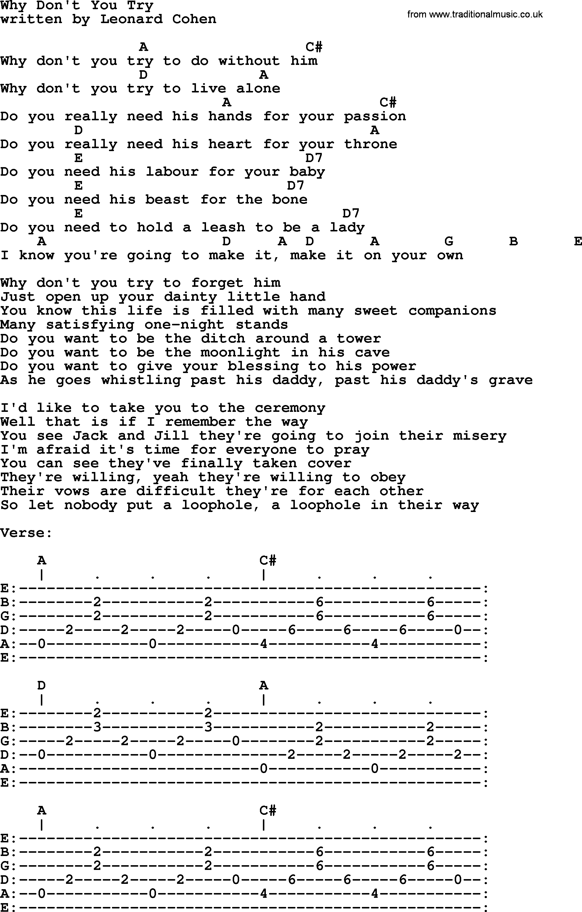 Leonard Cohen Song Why Dont You Try Lyrics And Chords