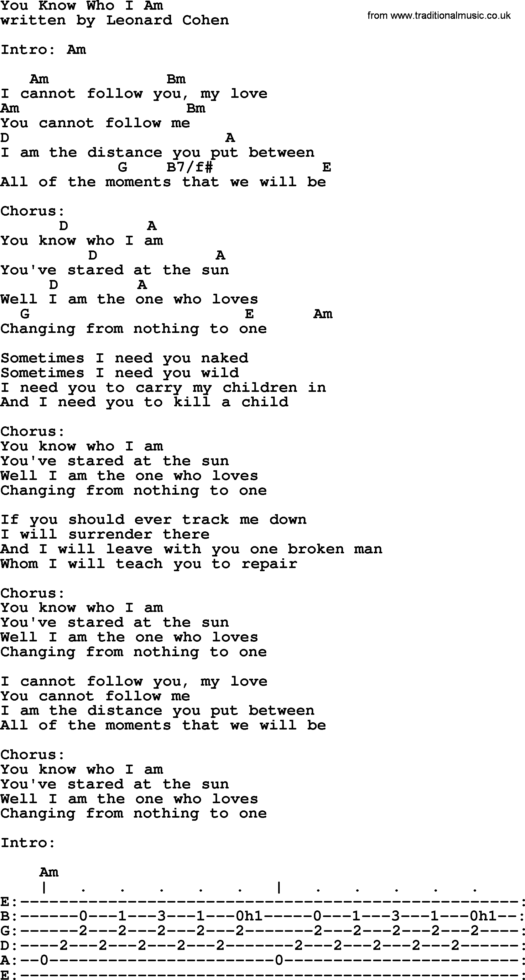 Leonard Cohen Song You Know Who I Am Lyrics And Chords