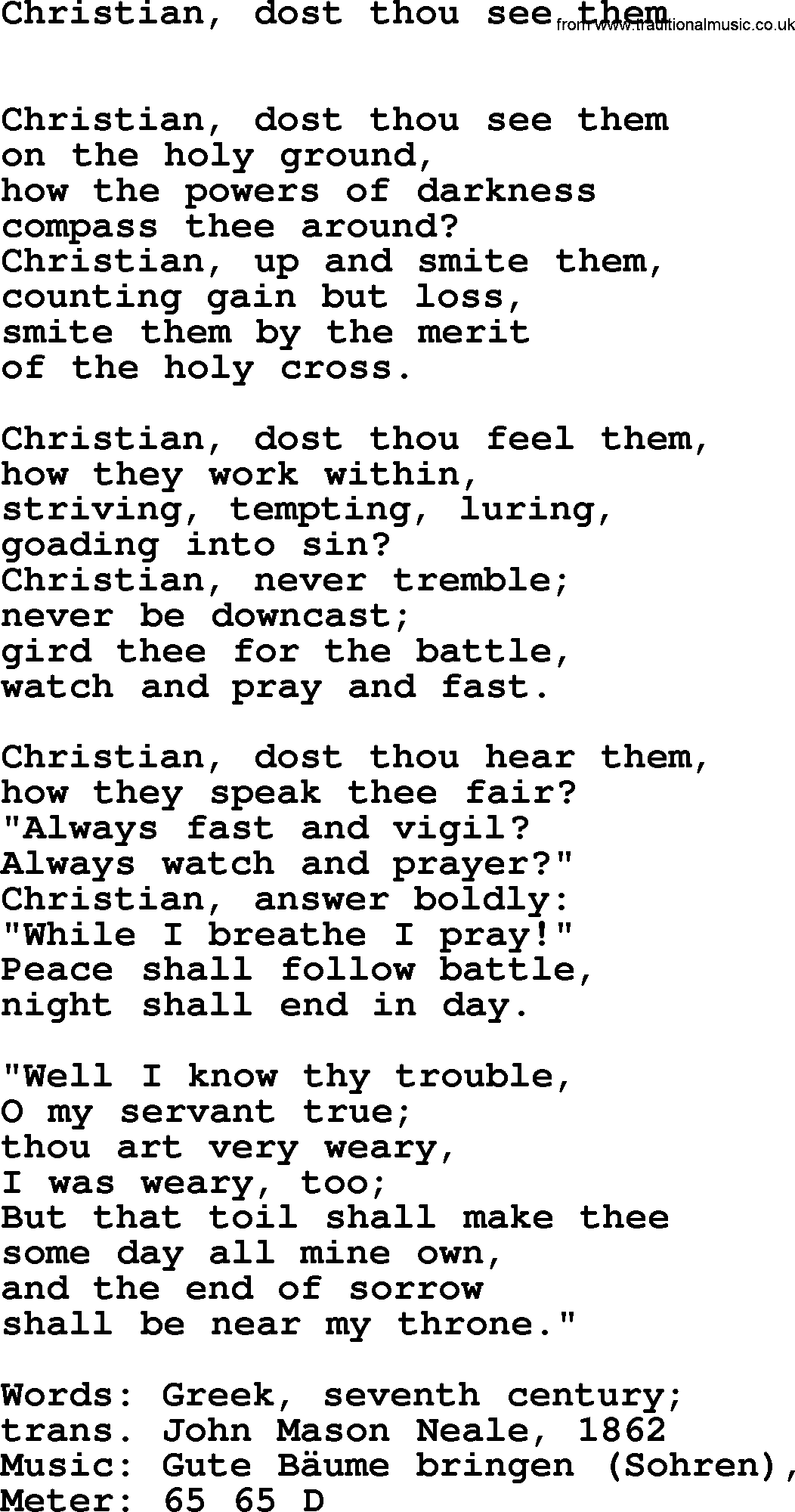 Book of Common Praise Song: Christian, Dost Thou See Them, lyrics
