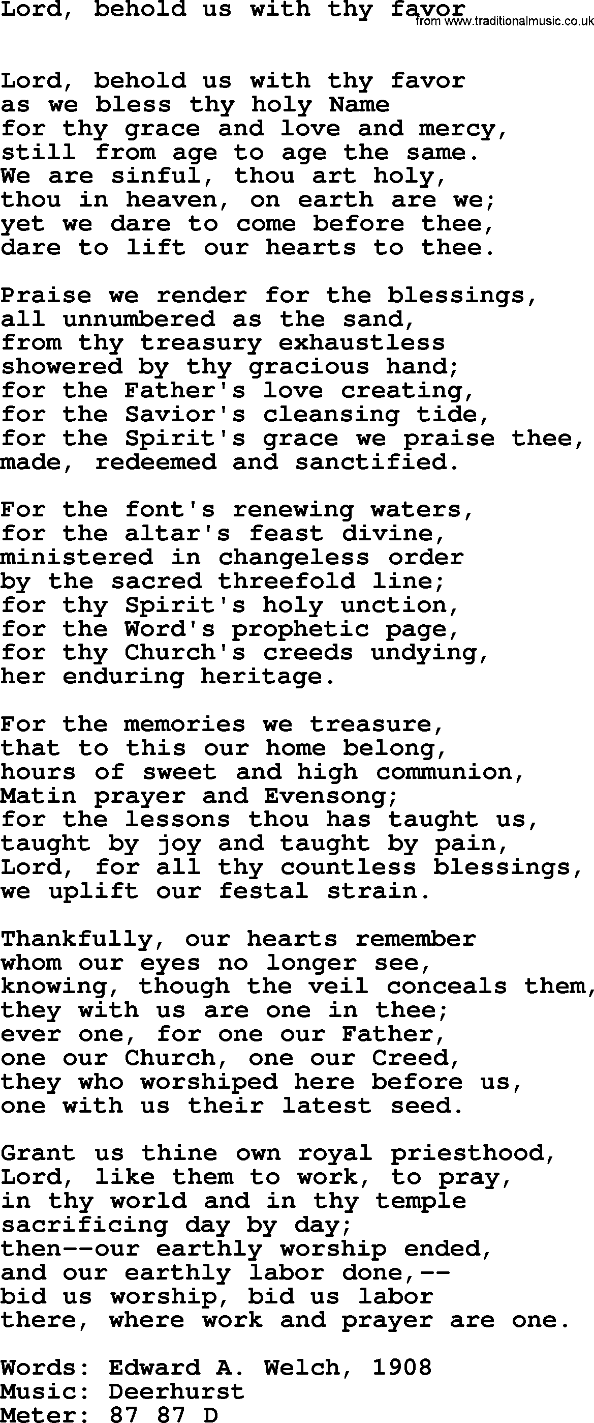 Book of Common Praise Song: Lord, Behold Us With Thy Favor