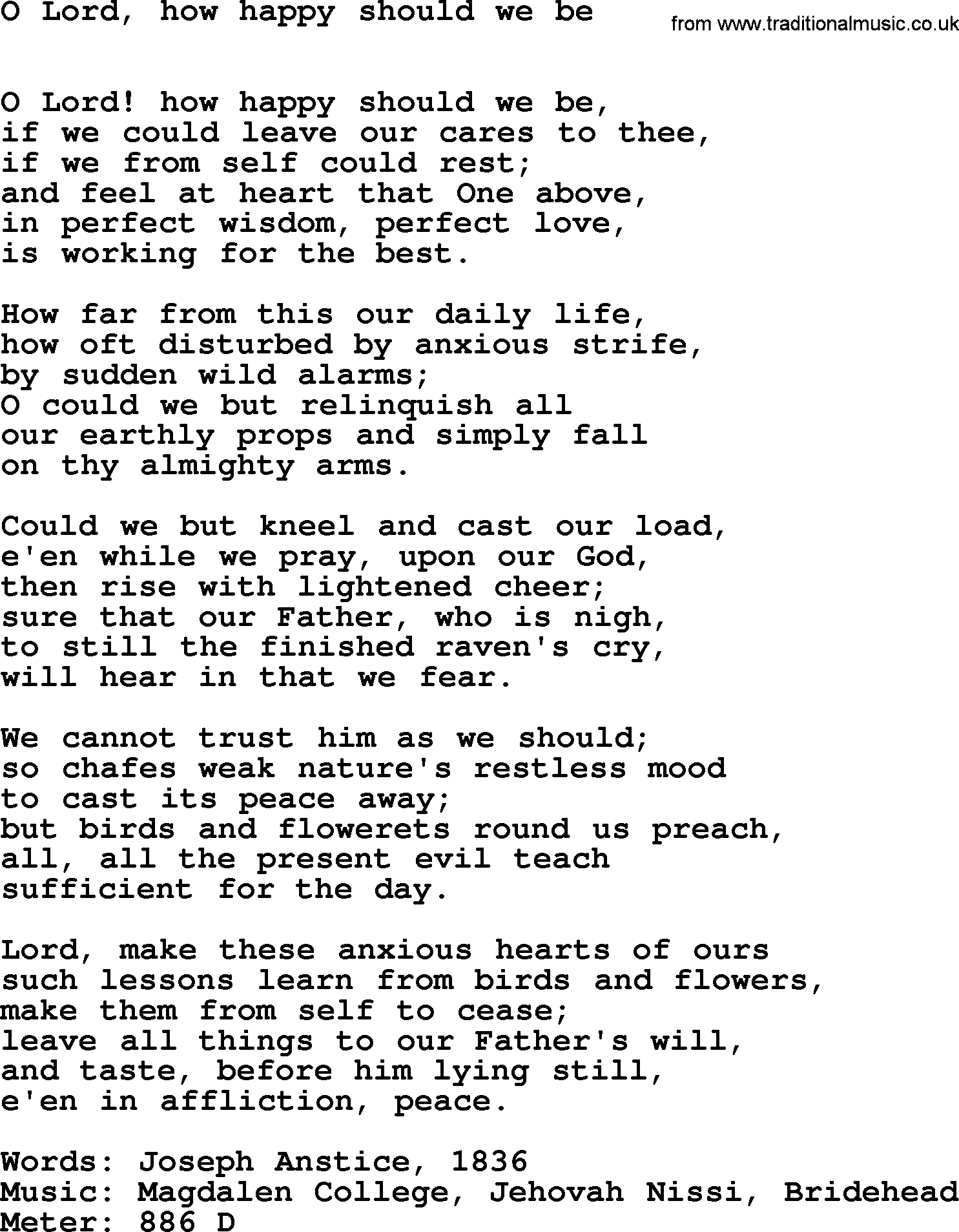 Book of Common Praise Song: O Lord, How Happy Should We Be, lyrics