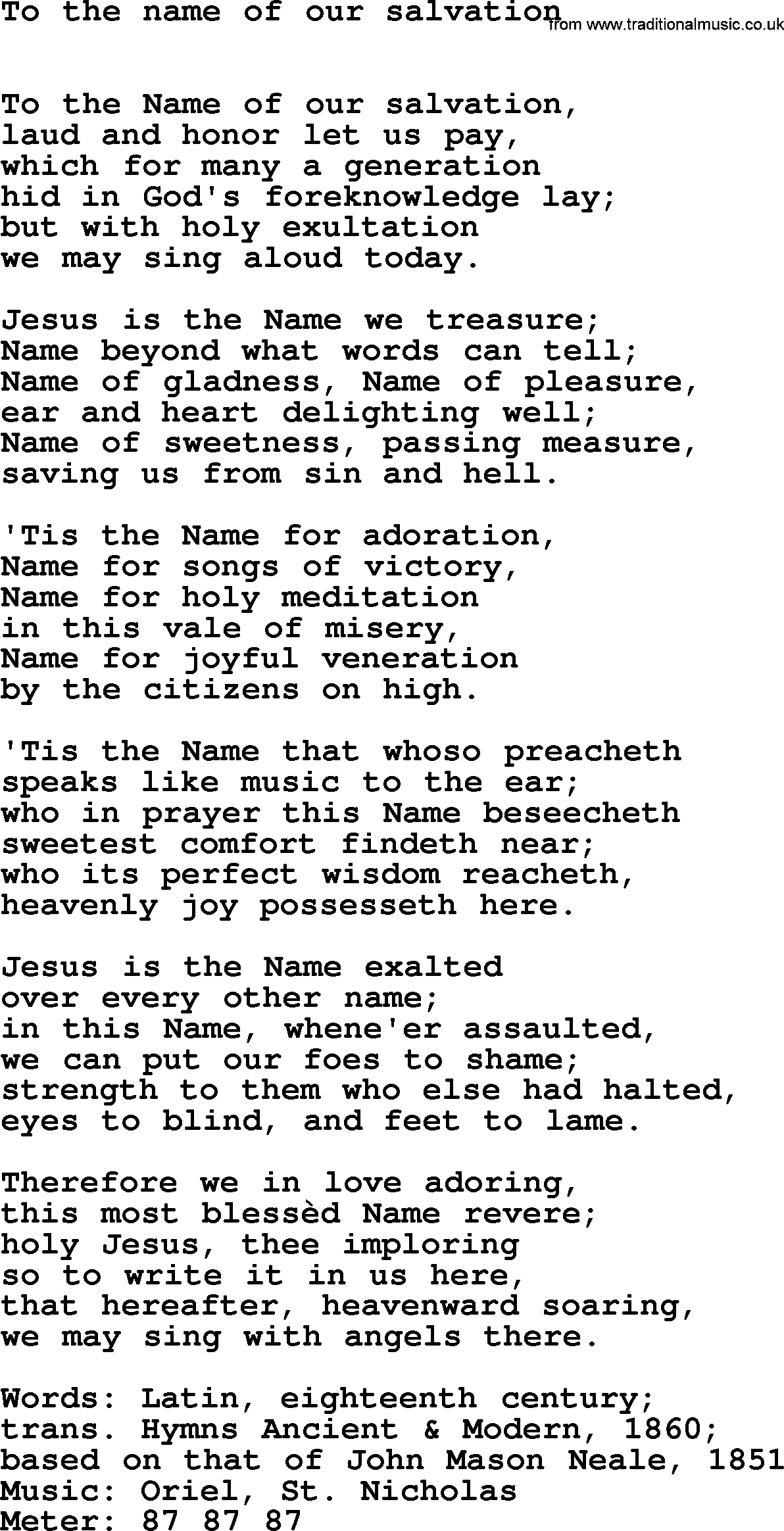 Book of Common Praise Song: To The Name Of Our Salvation