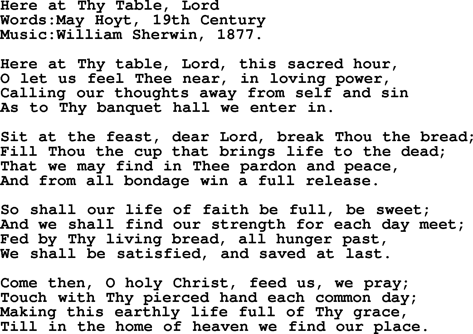 Hymns and Songs for The Eucharist(Communion): Here At Thy Table