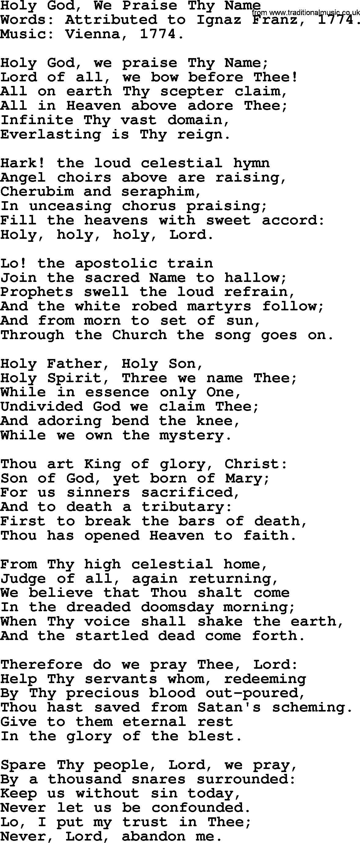 Most Popular Church Hymns and Songs: Holy God, We Praise Thy Name