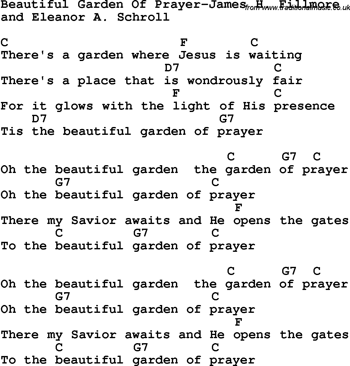 Country Southern And Bluegrass Gospel Song Beautiful Garden Of Prayer James H Fillmore Lyrics