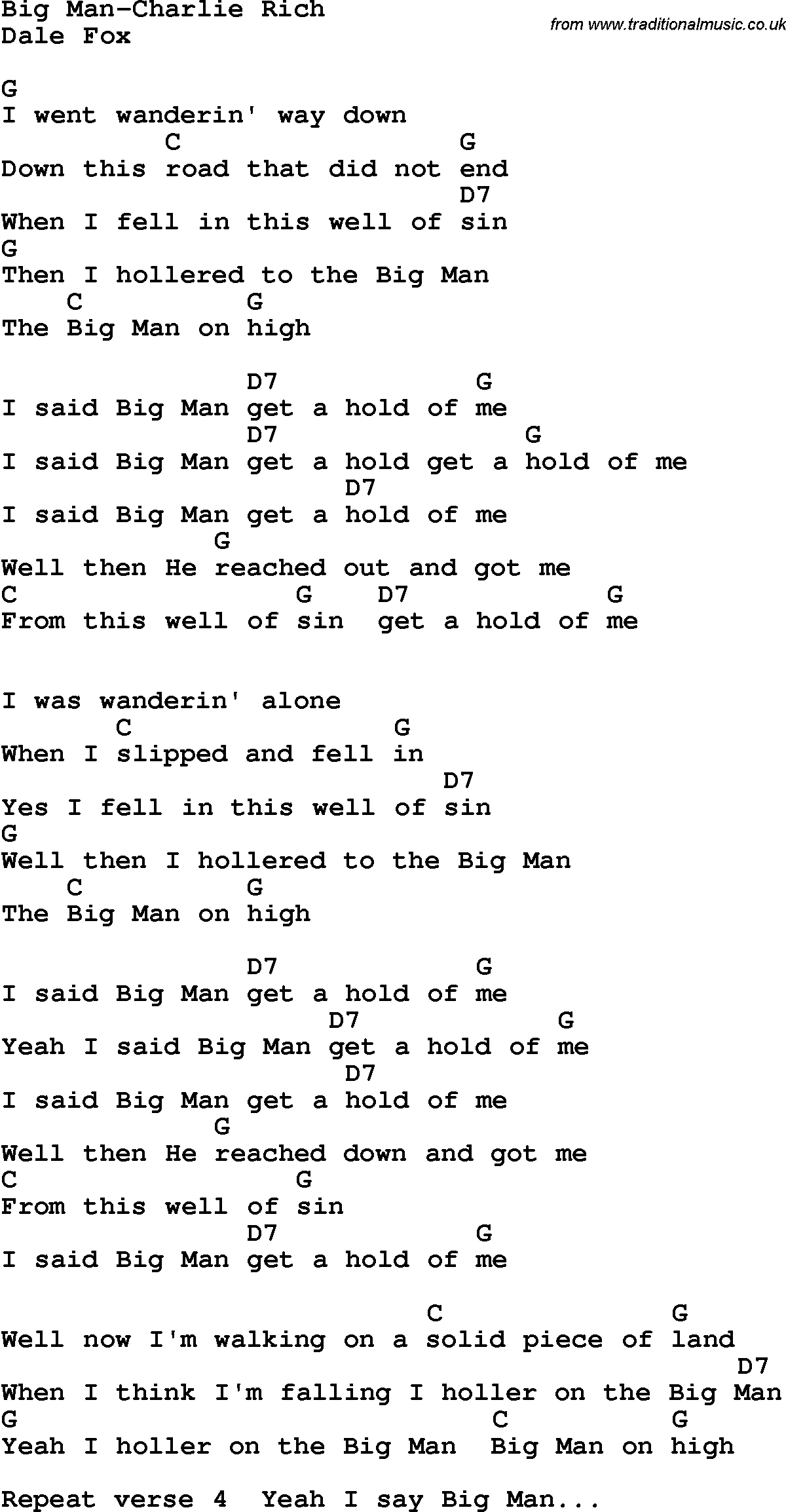 country southern and bluegrass gospel song big man charlie rich - Google Resume Pdf