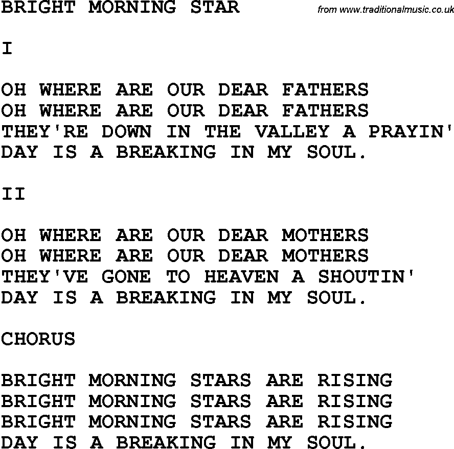 Country, Southern and Bluegrass Gospel Song Bright Morning Star lyrics