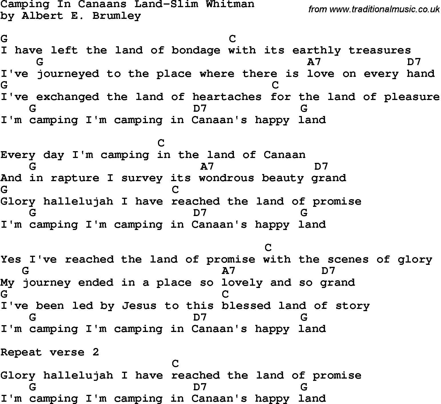 The Stanley Brothers - Camping In Canaan's Land Lyrics ...