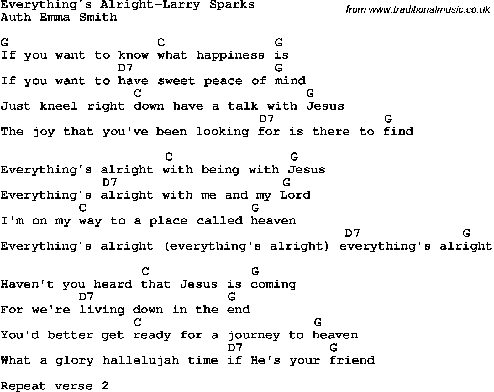 Country southern and bluegrass gospel song everythings alright country southern and bluegrass gospel song everythings alright larry sparks lyrics and chords hexwebz Image collections