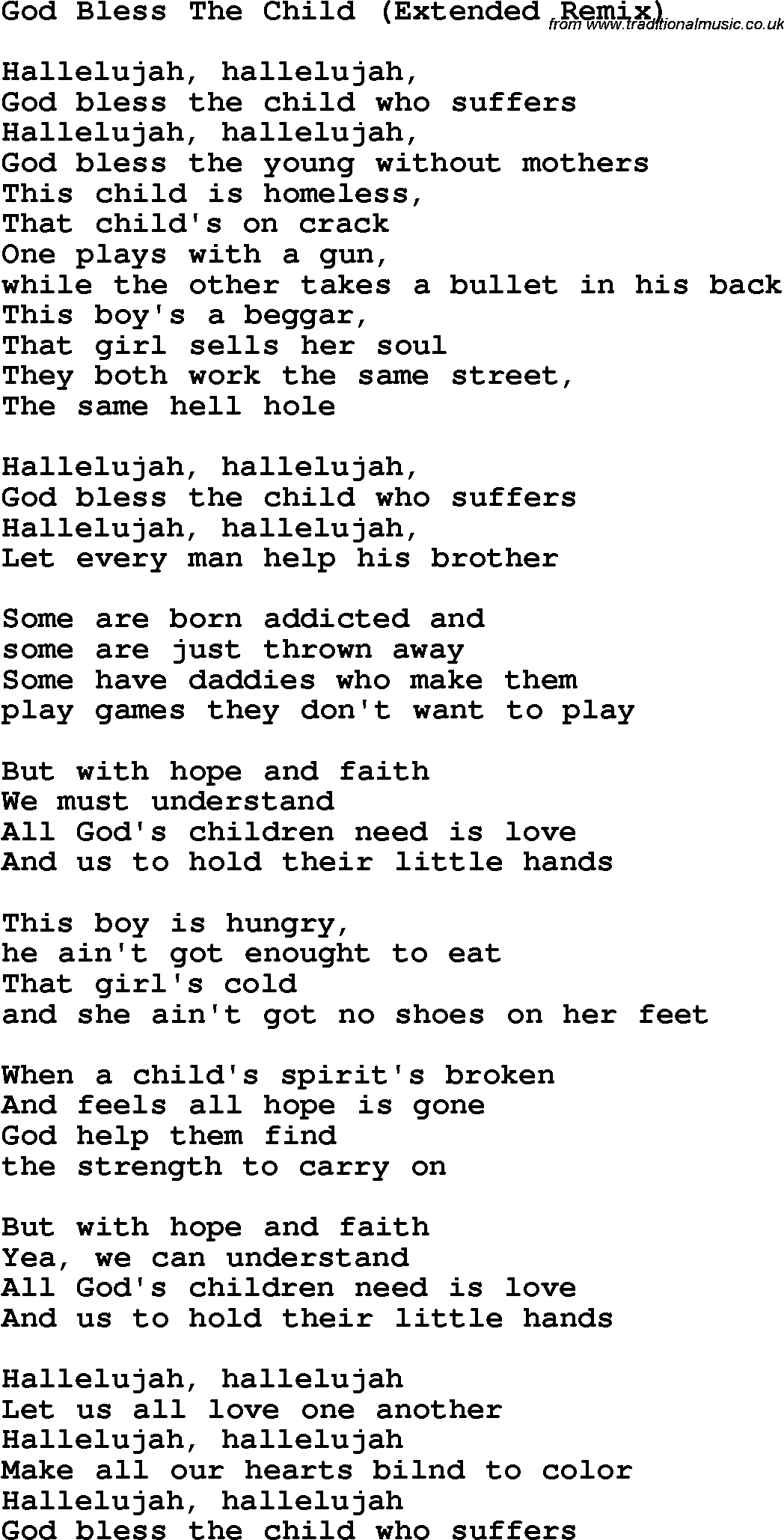 god bless the child lyrics: