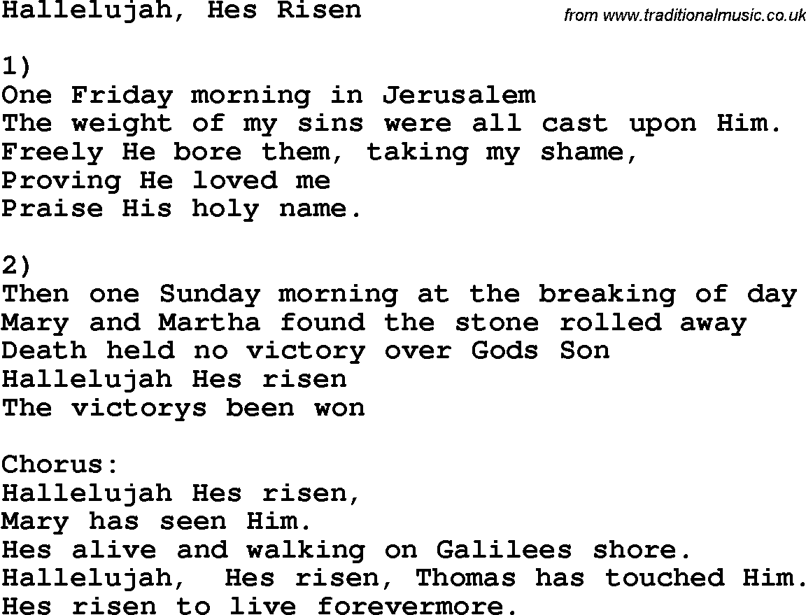 Country Southern And Bluegrass Gospel Song Hallelujah Hes Risen Lyrics
