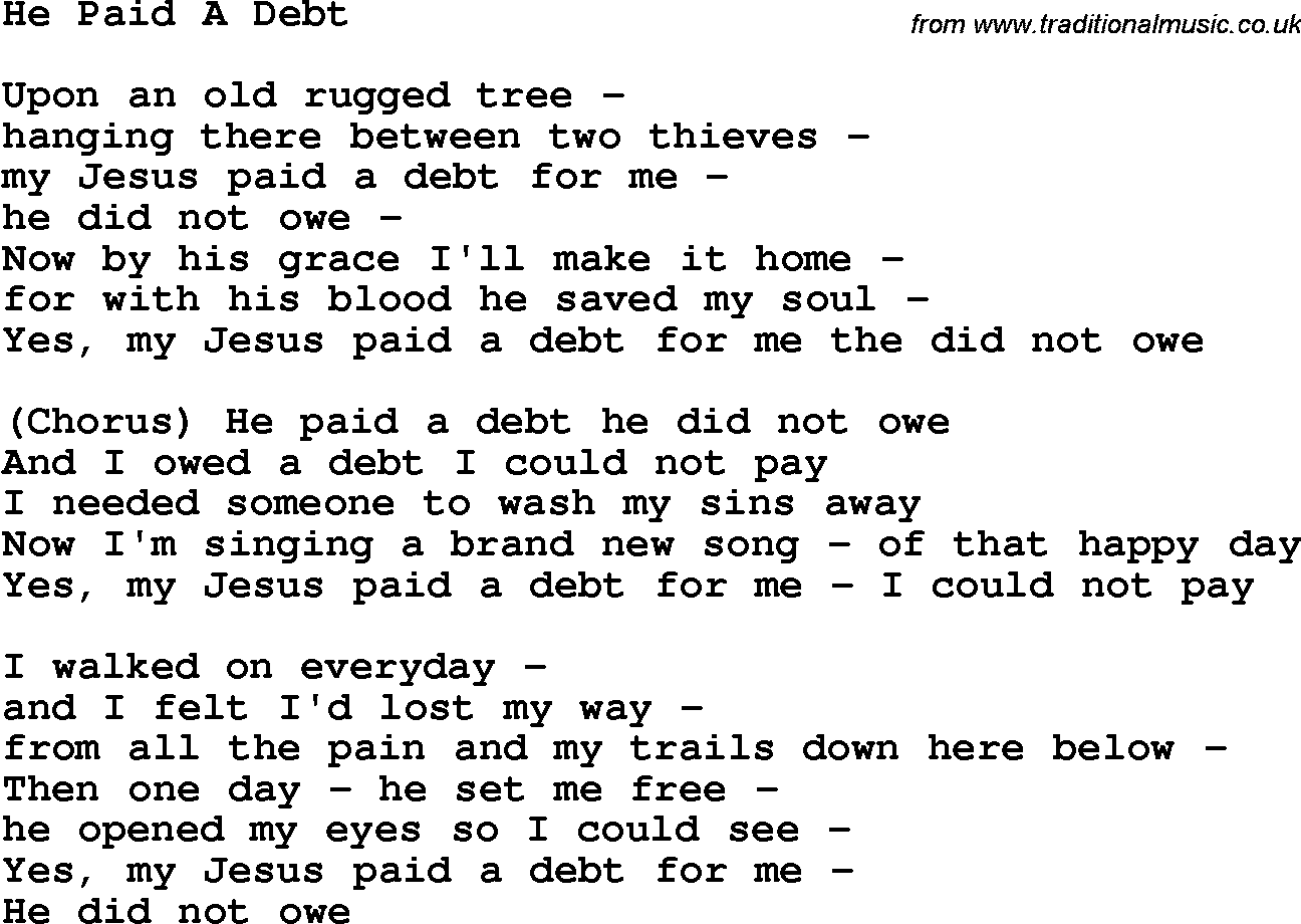 Southern and bluegrass gospel song he paid a debt lyrics 1750 country bluegrass and southern gospel songs lyrics chords printable pdf for download hexwebz Choice Image