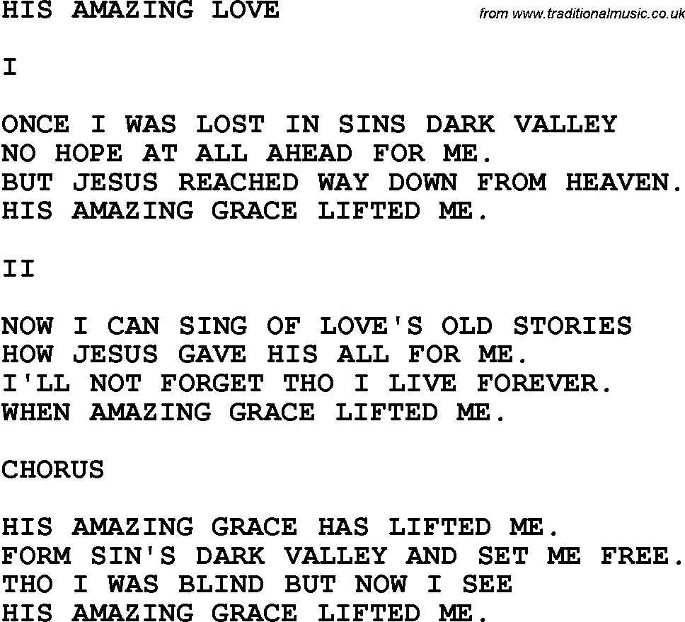 Country, Southern and Bluegrass Gospel Song His Amazing Love lyrics