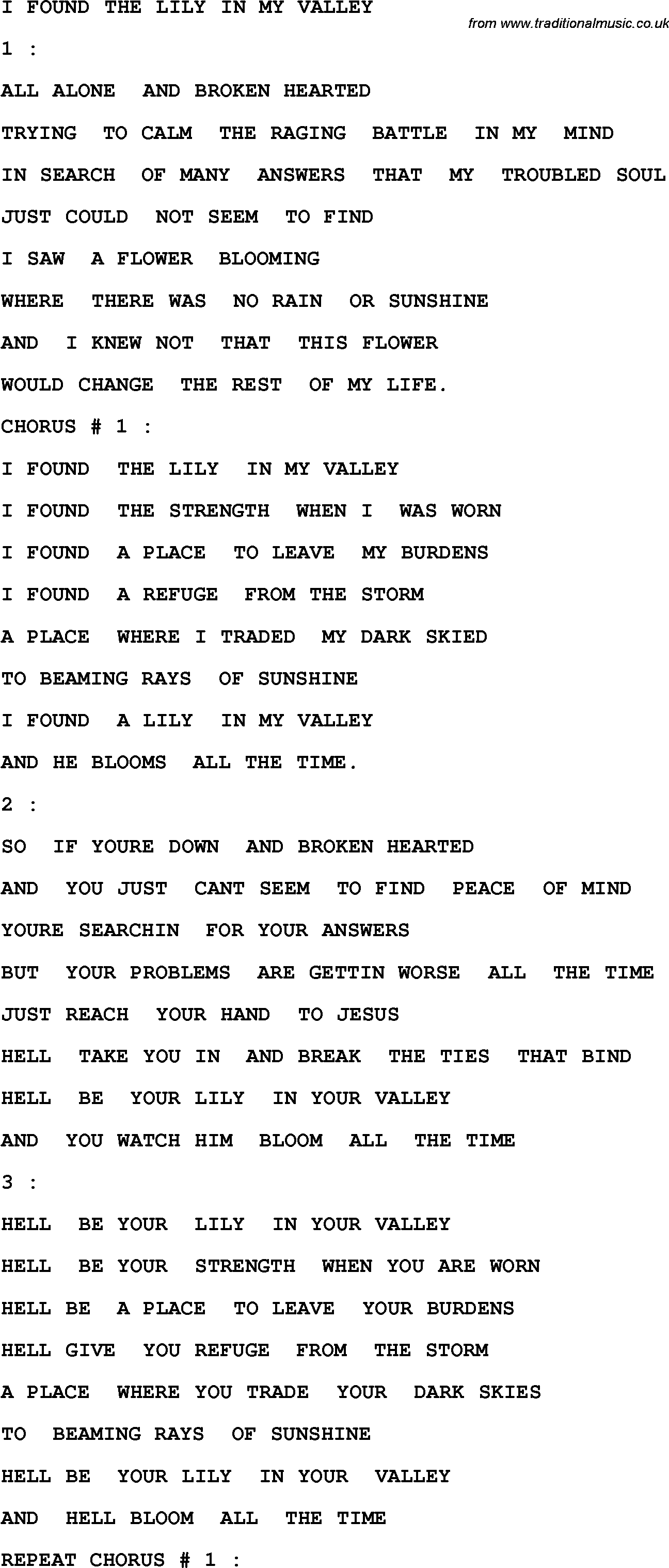 Country, Southern and Bluegrass Gospel Song I Found The ... Pictures Of Lily Lyrics