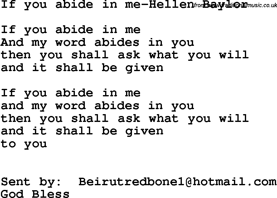 Southern And Bluegrass Gospel Song If You Abide In Me Hellen Baylor