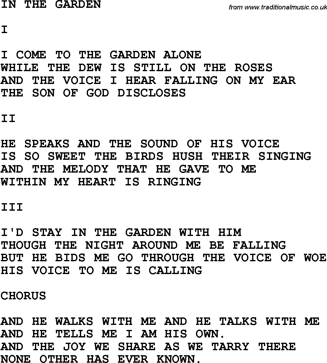 Country Southern And Bluegrass Gospel Song In The Garden Lyrics