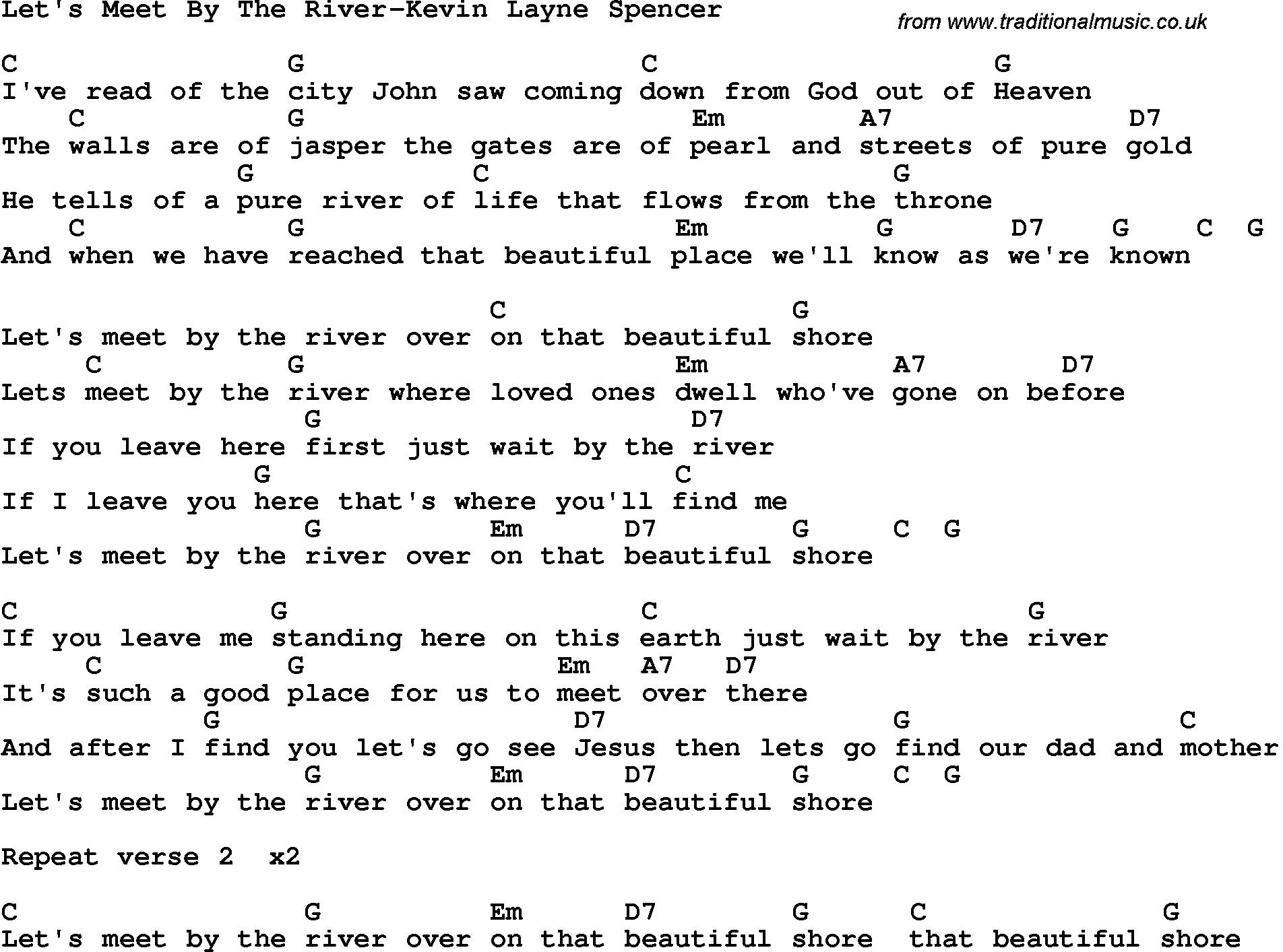 let meet by the river lyrics spencers