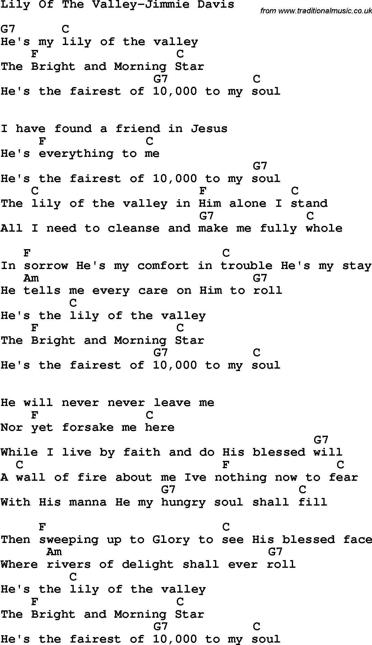 Country, Southern and Bluegrass Gospel Song Lily Of The ... Pictures Of Lily Lyrics