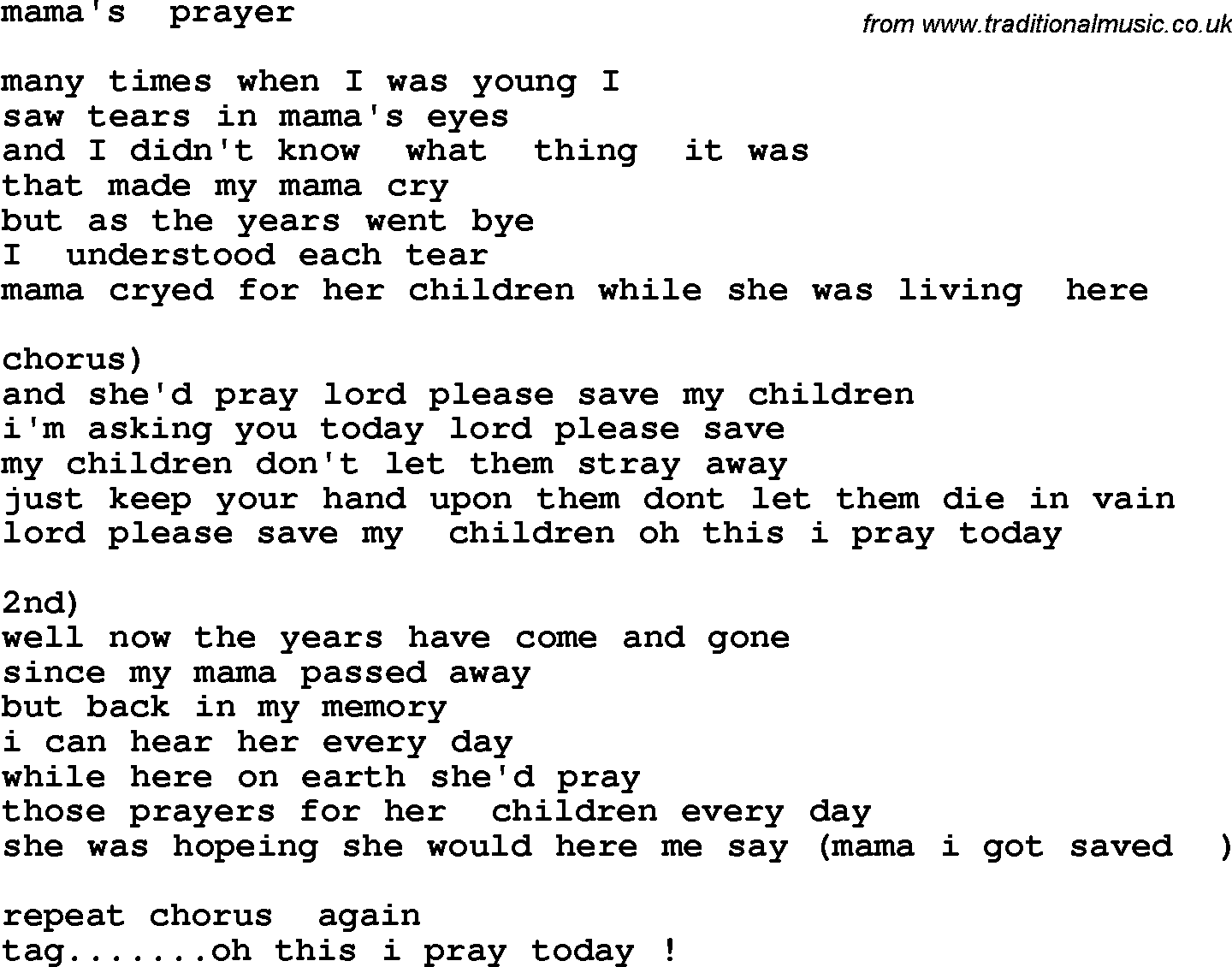 Country, Southern and Bluegrass Gospel Song Mama's Prayer lyrics