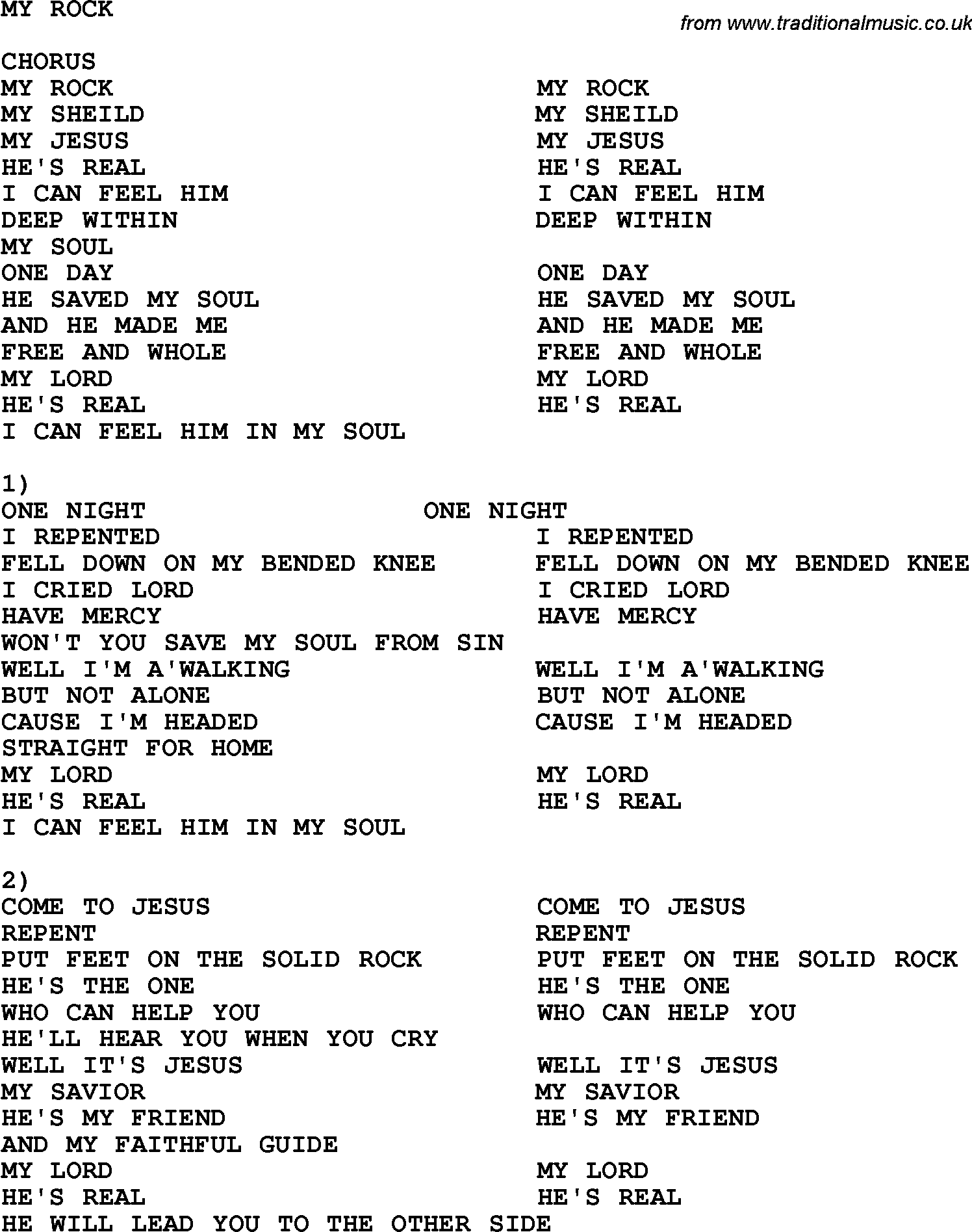 Gospel rock songs list