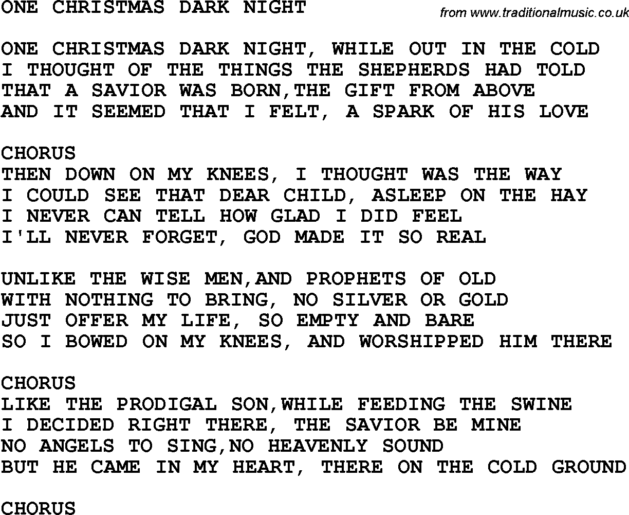 Country, Southern and Bluegrass Gospel Song One Christmas Dark Night ...