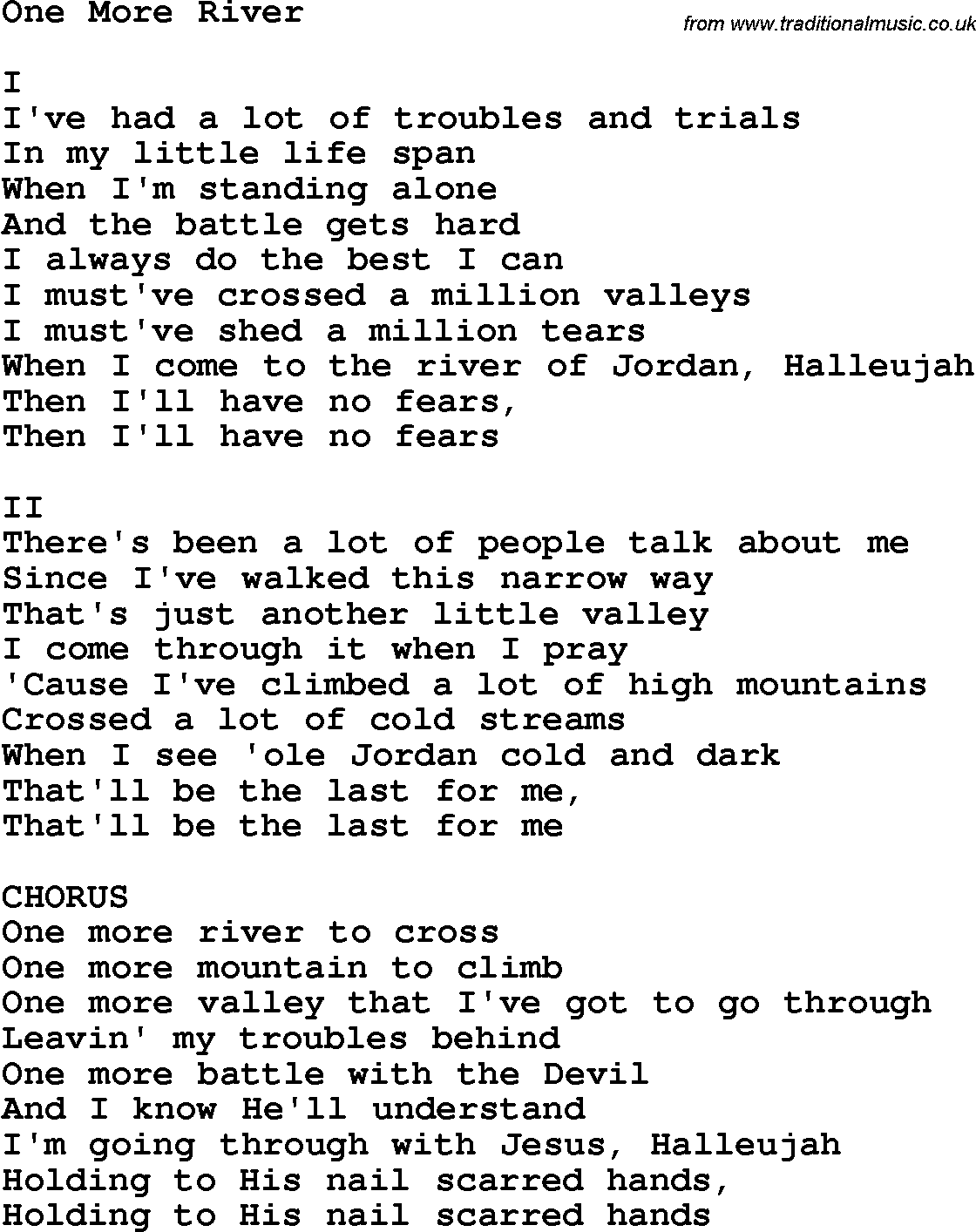 Country, Southern and Bluegrass Gospel Song One More River lyrics