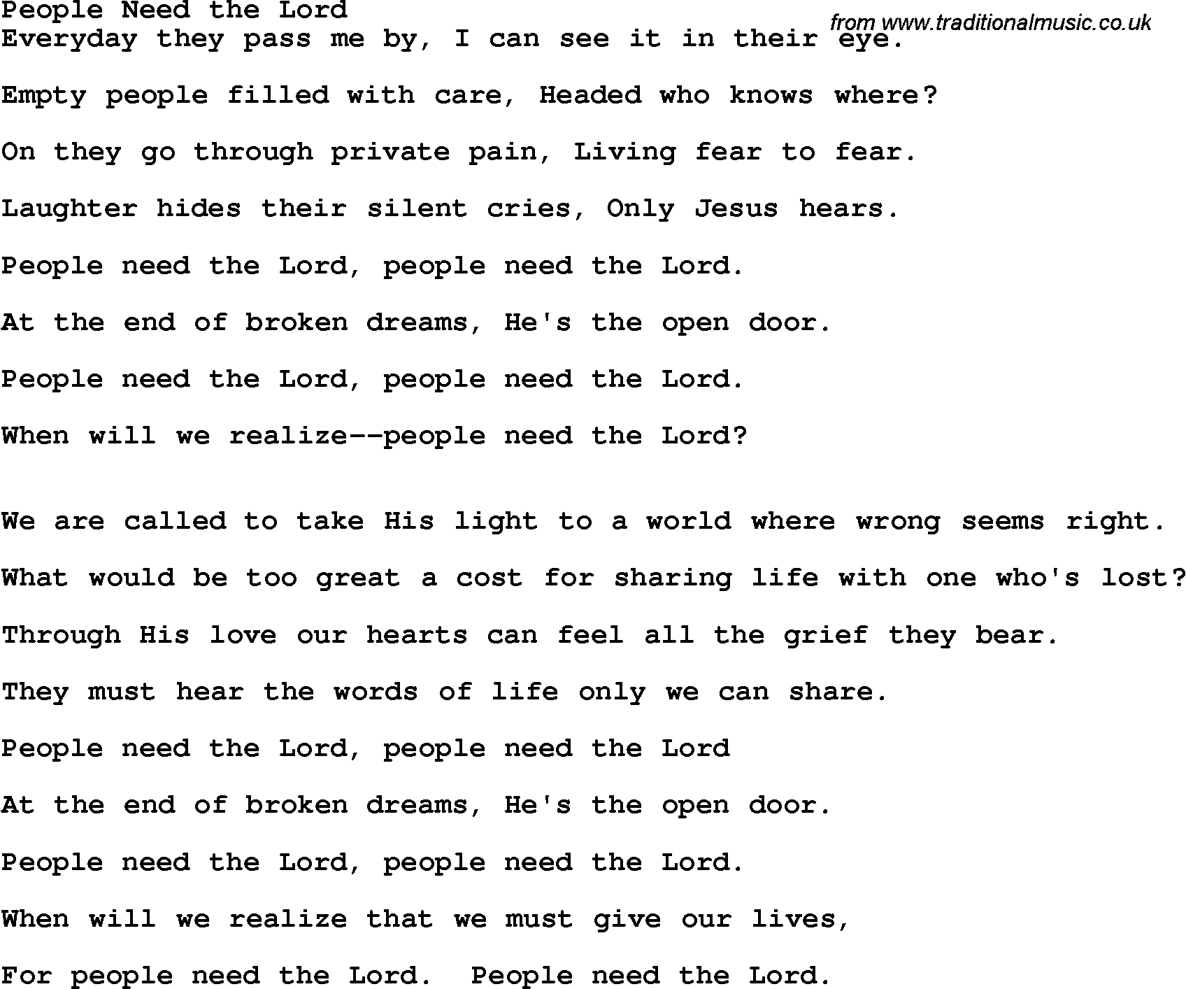Southern and bluegrass gospel song people need the lord lyrics country southern and bluegrass gospel song people need the lord lyrics hexwebz Gallery