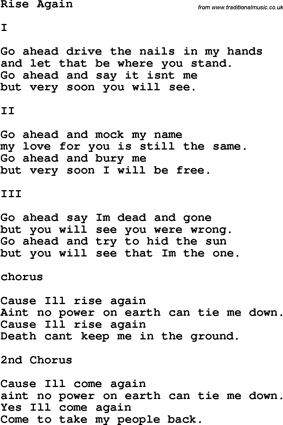 Country, Southern and Bluegrass Gospel Song Rise Again lyrics