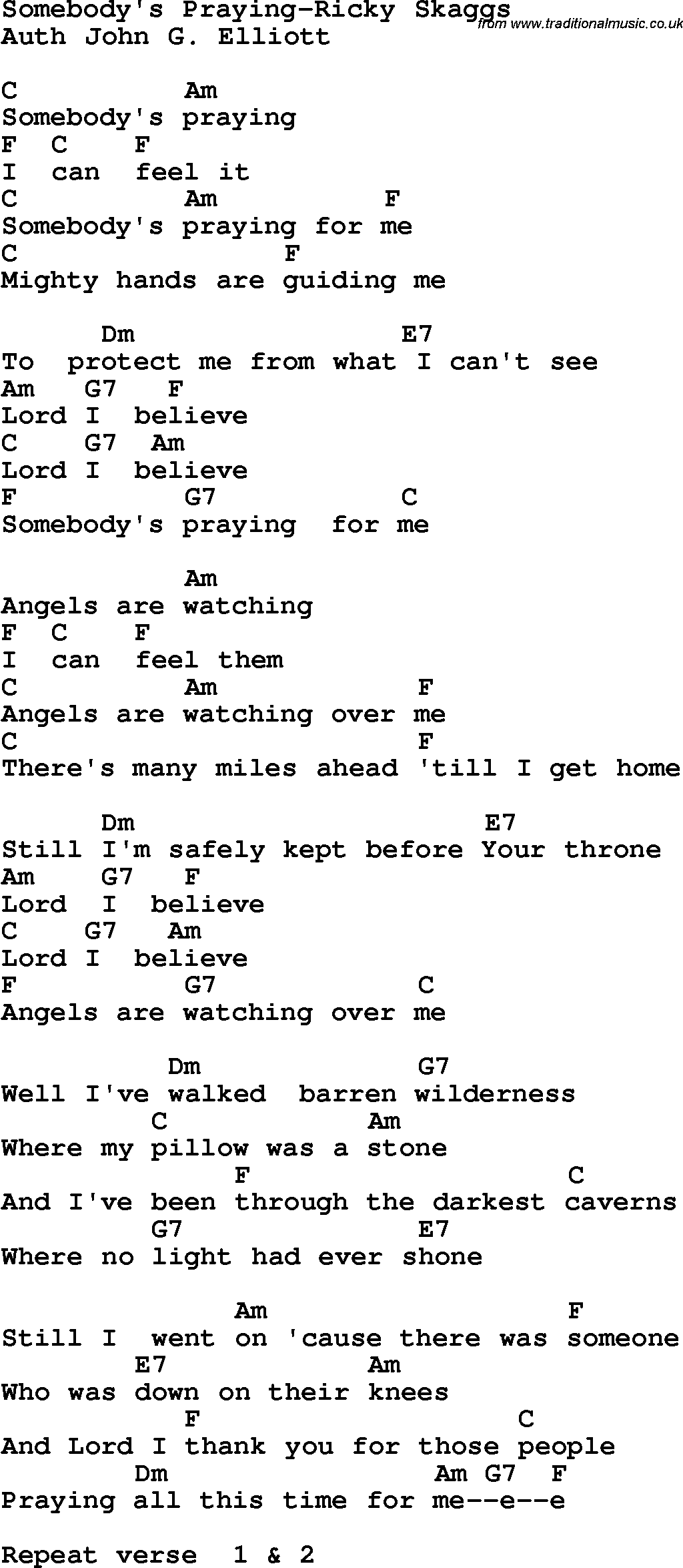 Country, Southern and Bluegrass Gospel Song Somebodyu0026#39;s Praying-Ricky Skaggs Lyrics with chords