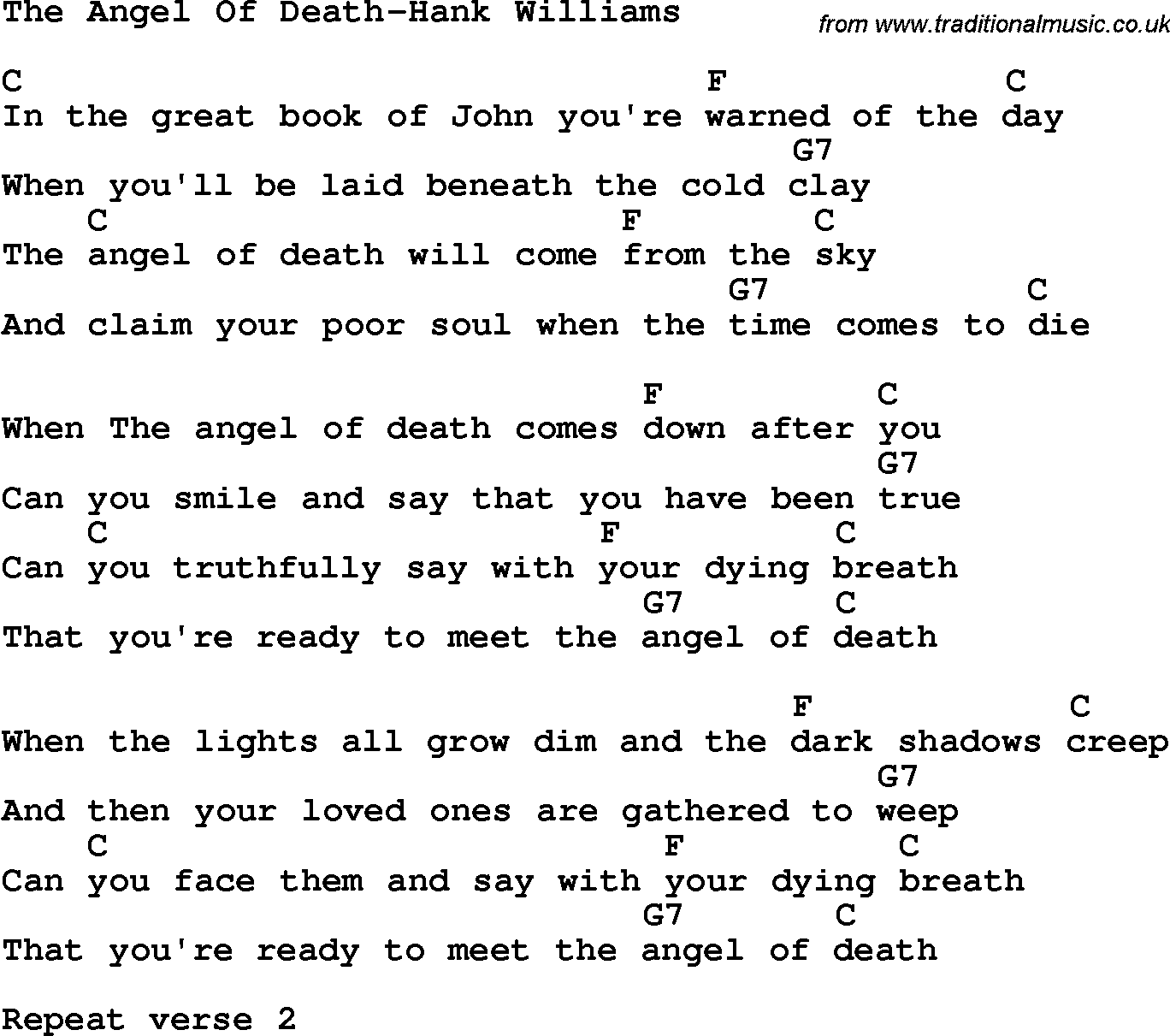 Country, Southern and Bluegrass Gospel Song The Angel Of Death-Hank