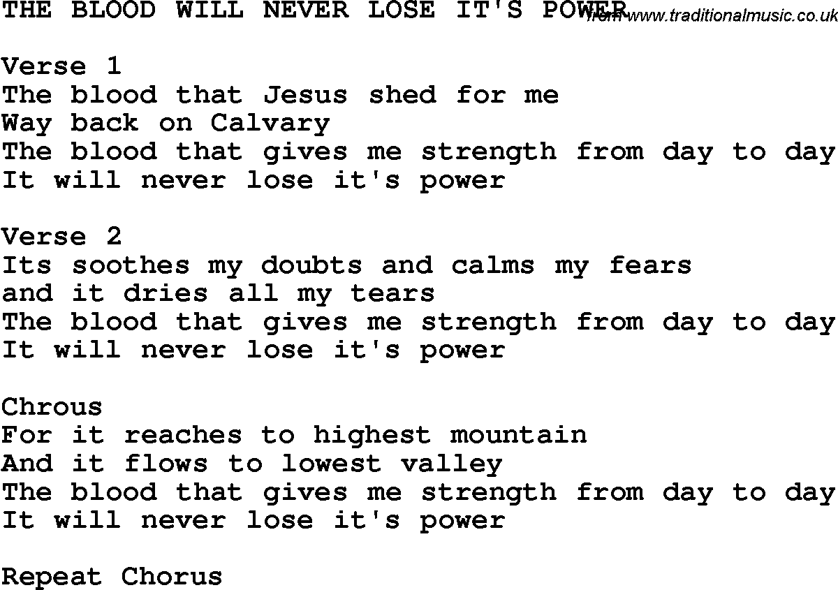 Southern and bluegrass gospel song the blood will never lose its country southern and bluegrass gospel song the blood will never lose its power lyrics hexwebz Images