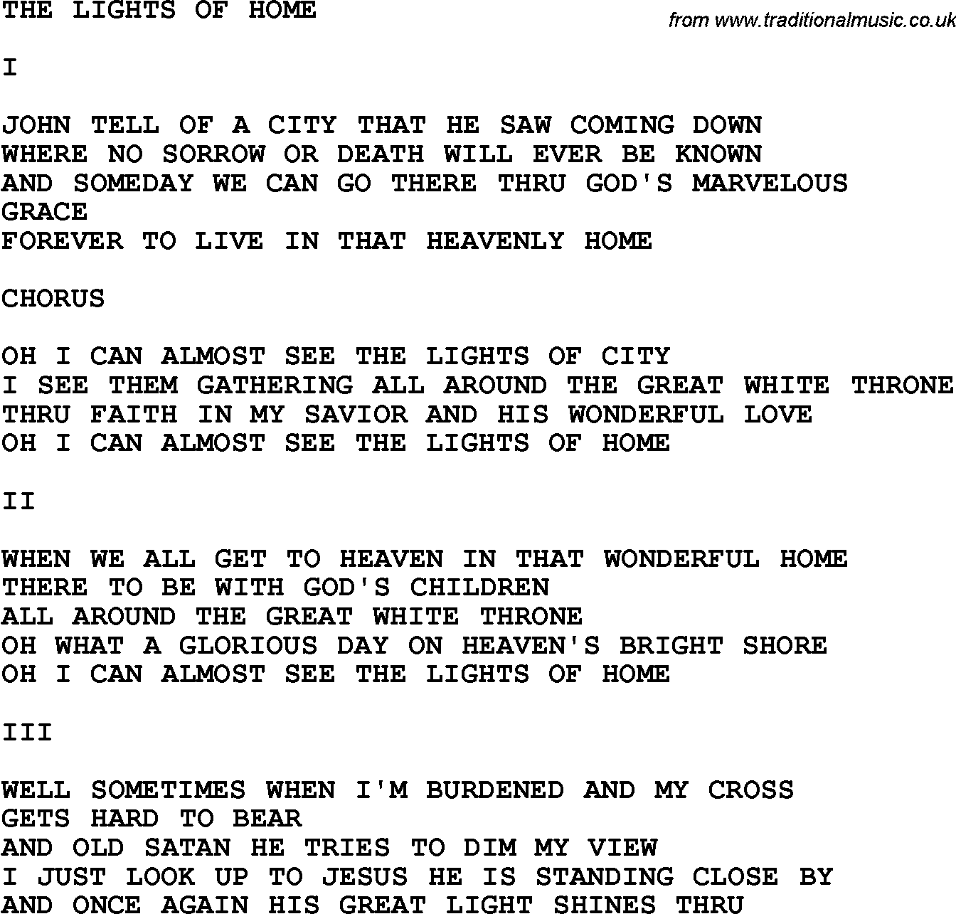 Country, Southern and Bluegrass Gospel Song The Lights Of Home lyrics