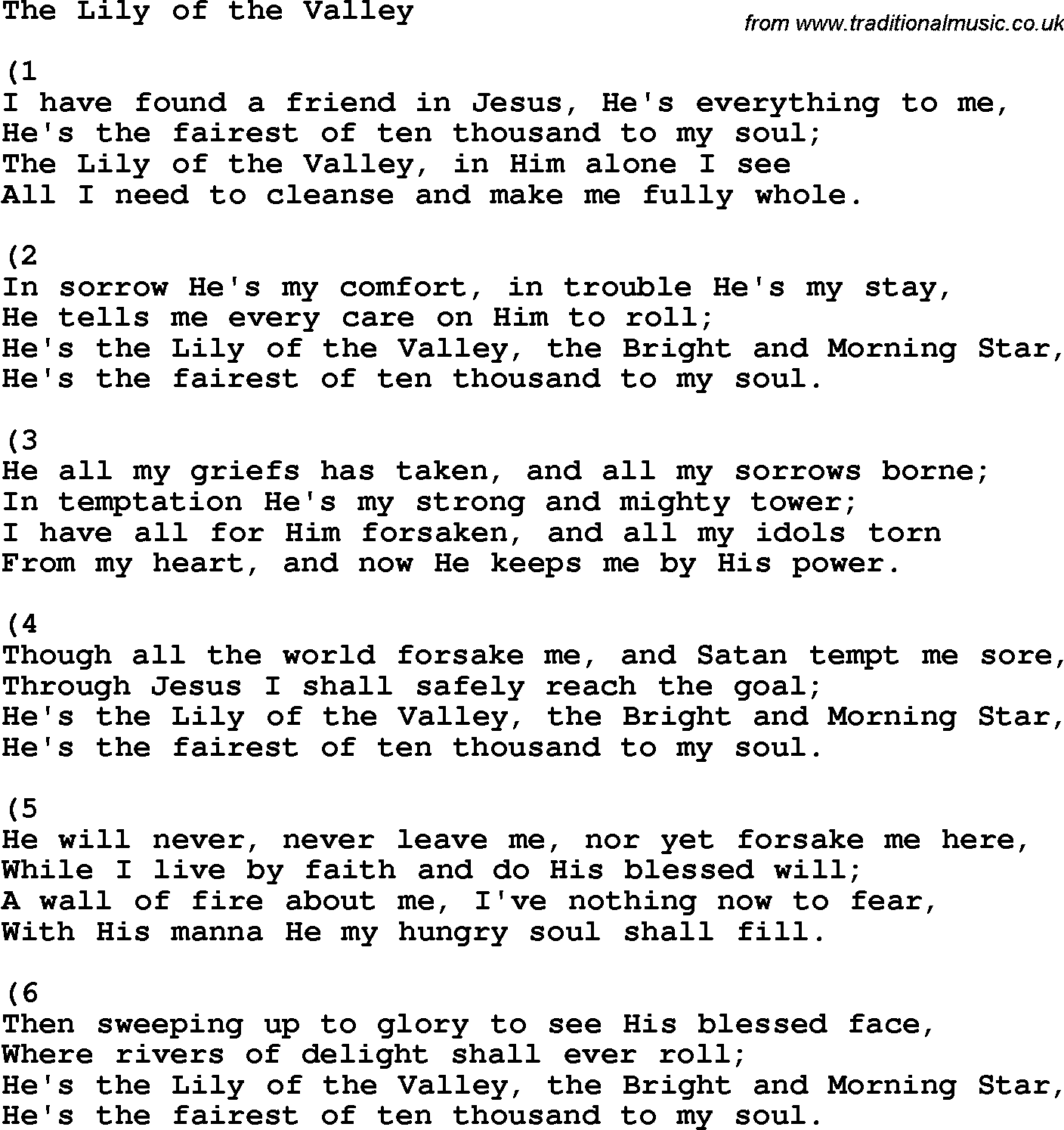 Country, Southern and Bluegrass Gospel Song The Lily Of ... Pictures Of Lily Lyrics