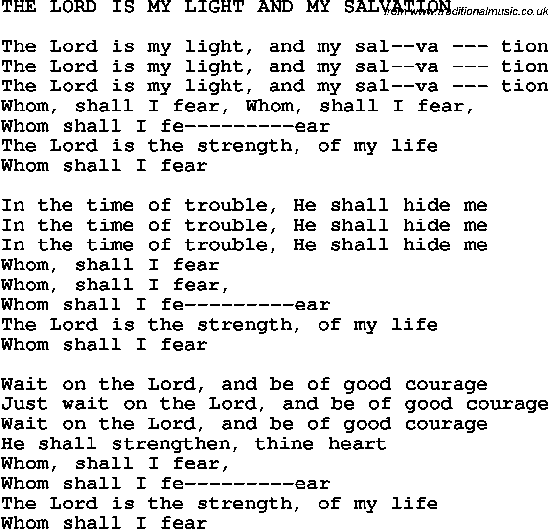 Southern and bluegrass gospel song the lord is my light and my country southern and bluegrass gospel song the lord is my light and my salvation lyrics hexwebz Image collections