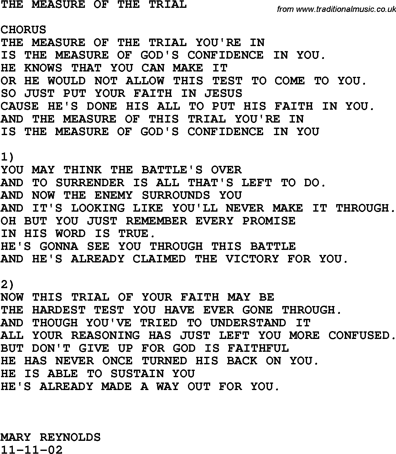Southern and bluegrass gospel song the measure of the trial lyrics 1750 country bluegrass and southern gospel songs lyrics chords printable pdf for download hexwebz Image collections