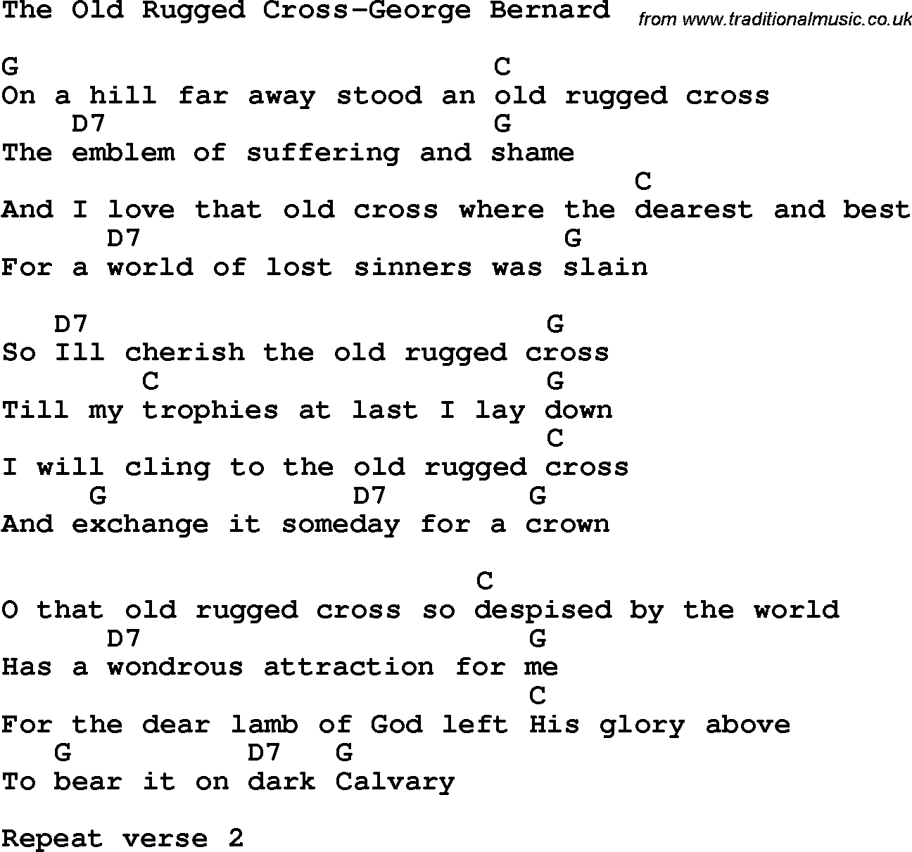 Lyrics: The Old Rugged Cross Pdf