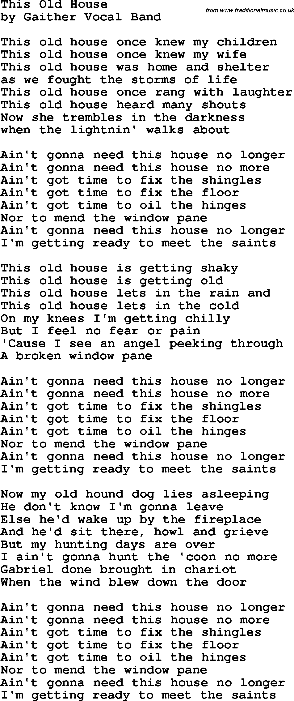 country southern and bluegrass gospel song this old house