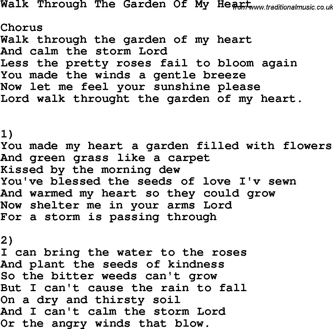 Country Southern And Bluegrass Gospel Song Walk Through The Garden Of My Heart Lyrics