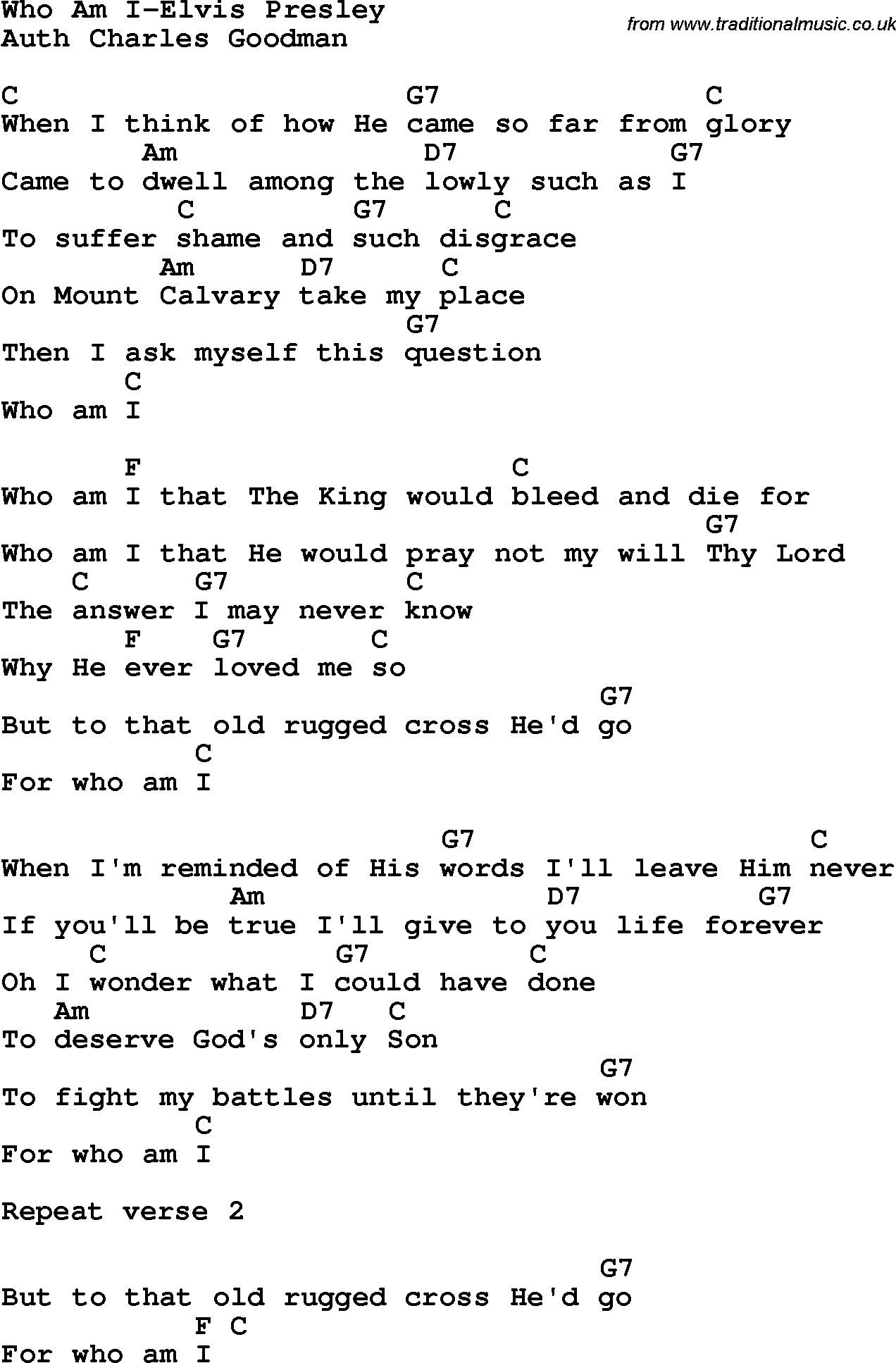 Country southern and bluegrass gospel song who am i elvis presley country southern and bluegrass gospel song who am i elvis presley lyrics and chords hexwebz Images